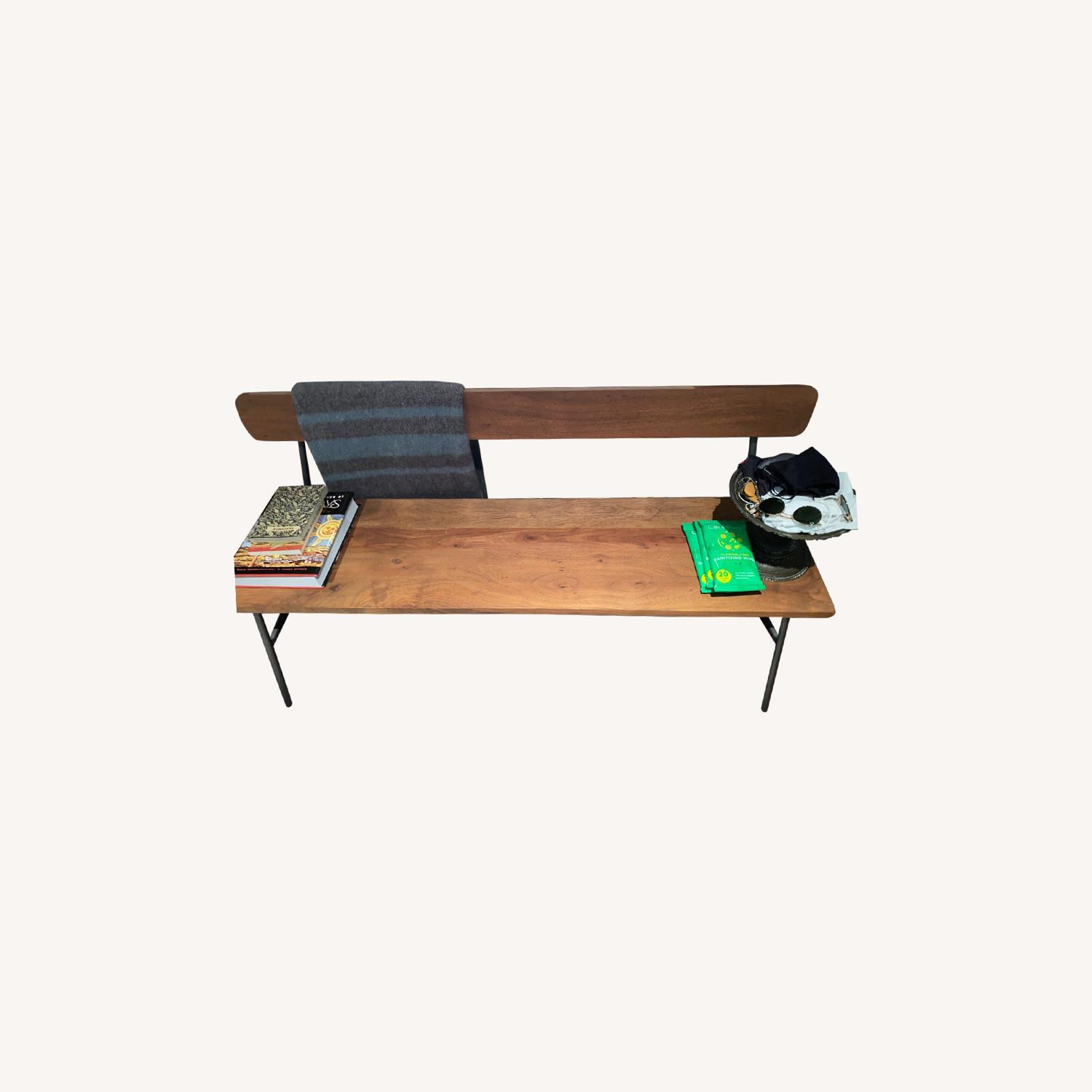 CB2 Schoolhouse Walnut Bench w Metal Frame - image-0