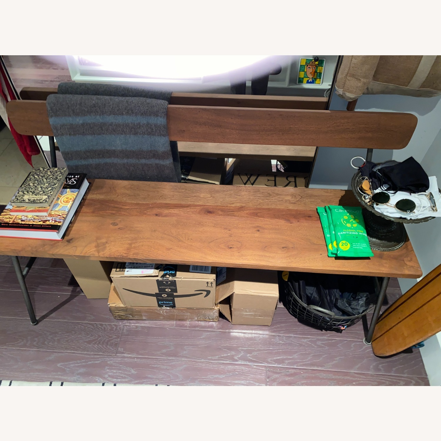 CB2 Schoolhouse Walnut Bench w Metal Frame - image-2