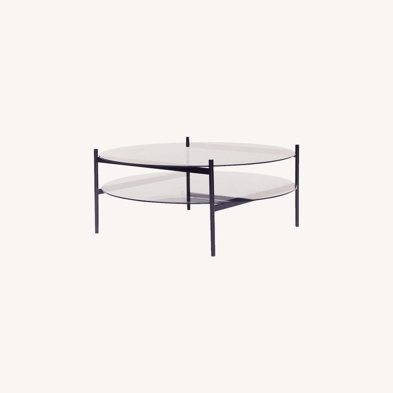 Duotone Coffee Table Round Black Smoked Glass - image-0