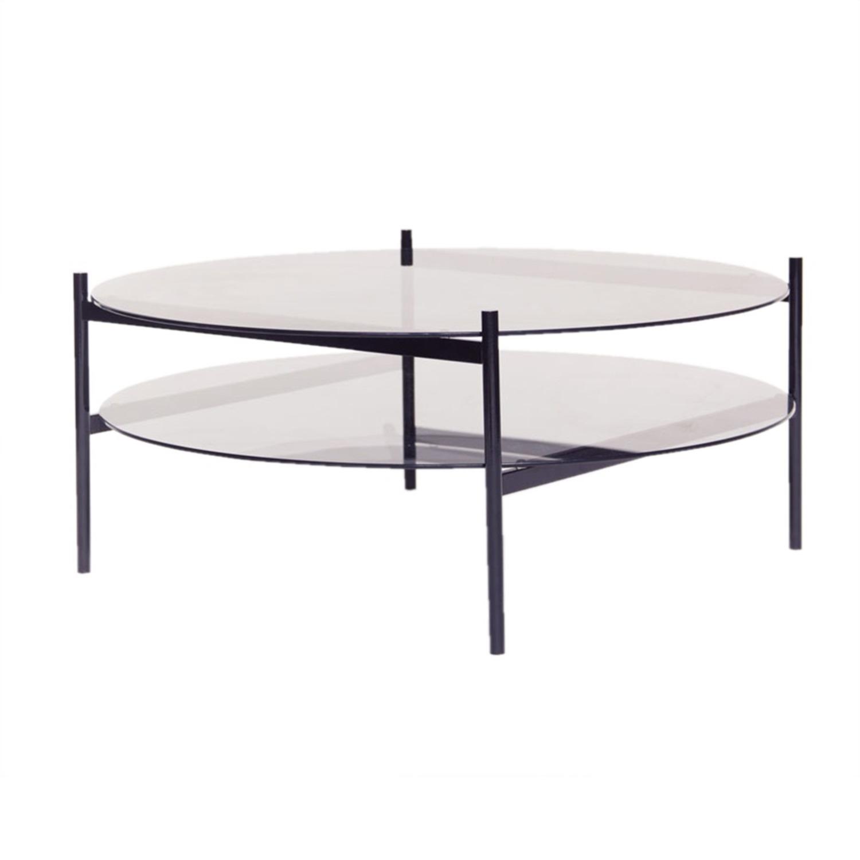 Duotone Coffee Table Round Black Smoked Glass - image-1