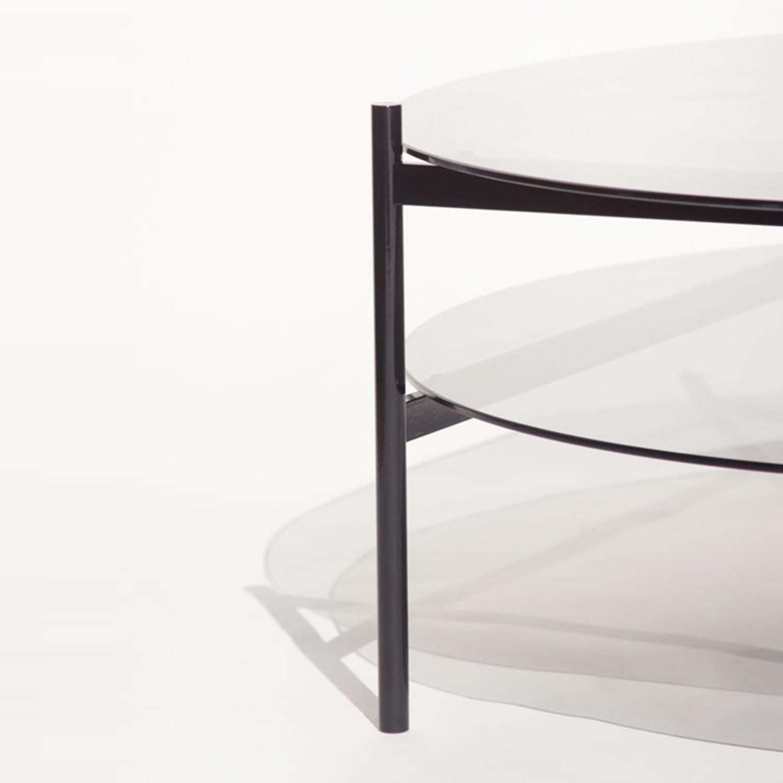 Duotone Coffee Table Round Black Smoked Glass - image-4