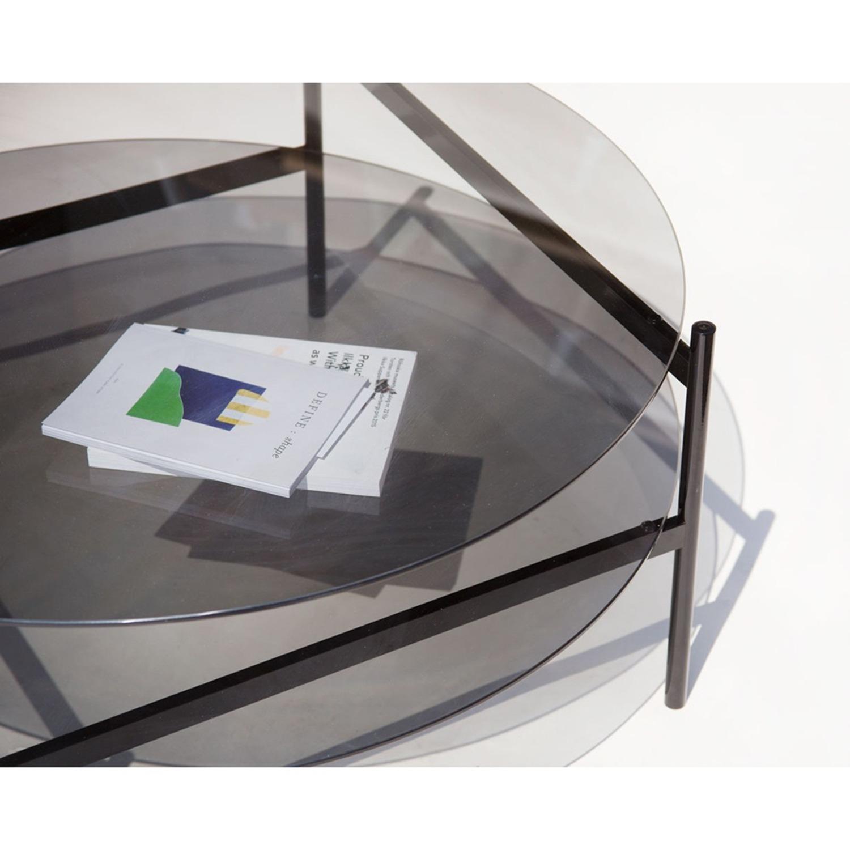 Duotone Coffee Table Round Black Smoked Glass - image-3