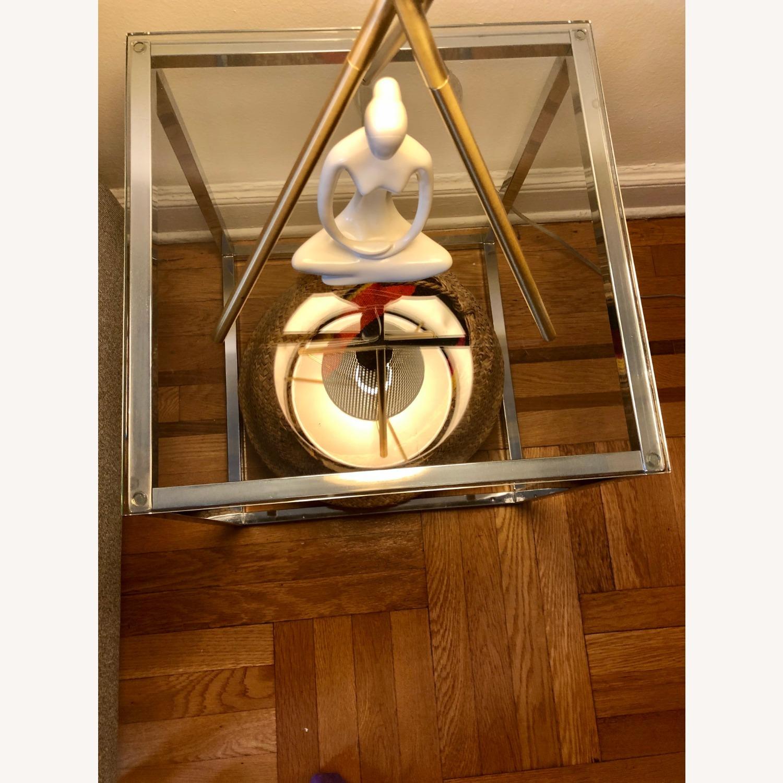 Cb2 Smart Glass and Chrome Table - image-4
