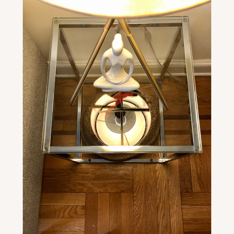 Cb2 Smart Glass and Chrome Table - image-2