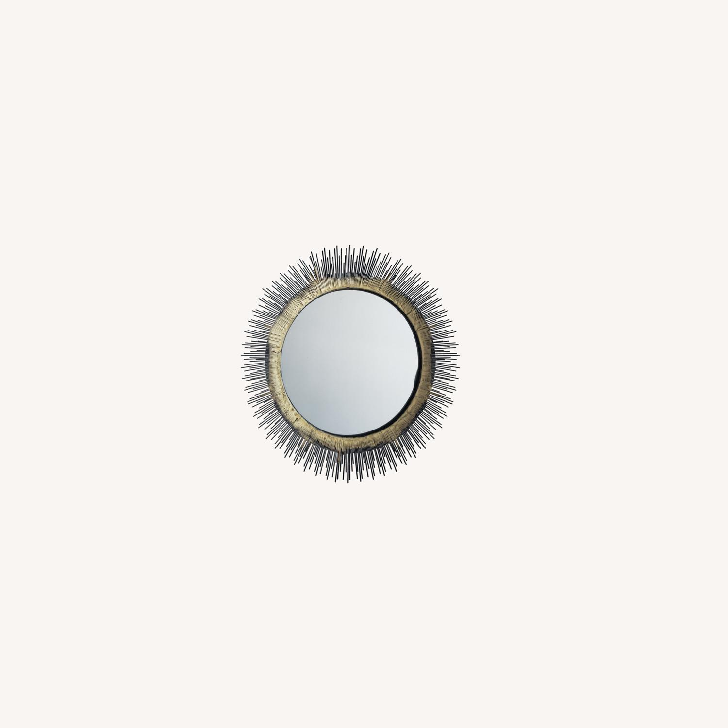 Crate and Barrel Brass Round Wall Mirror - image-0