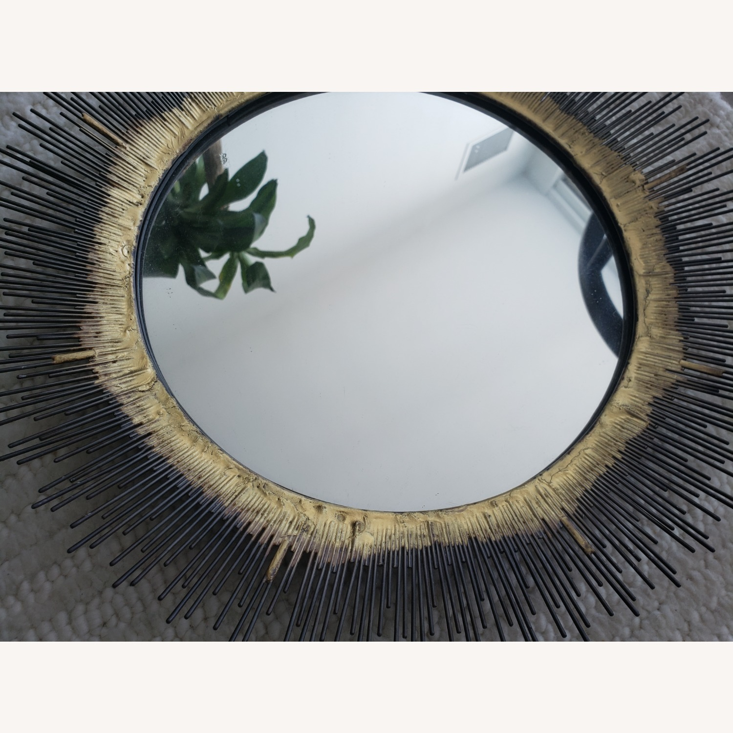 Crate and Barrel Brass Round Wall Mirror - image-2