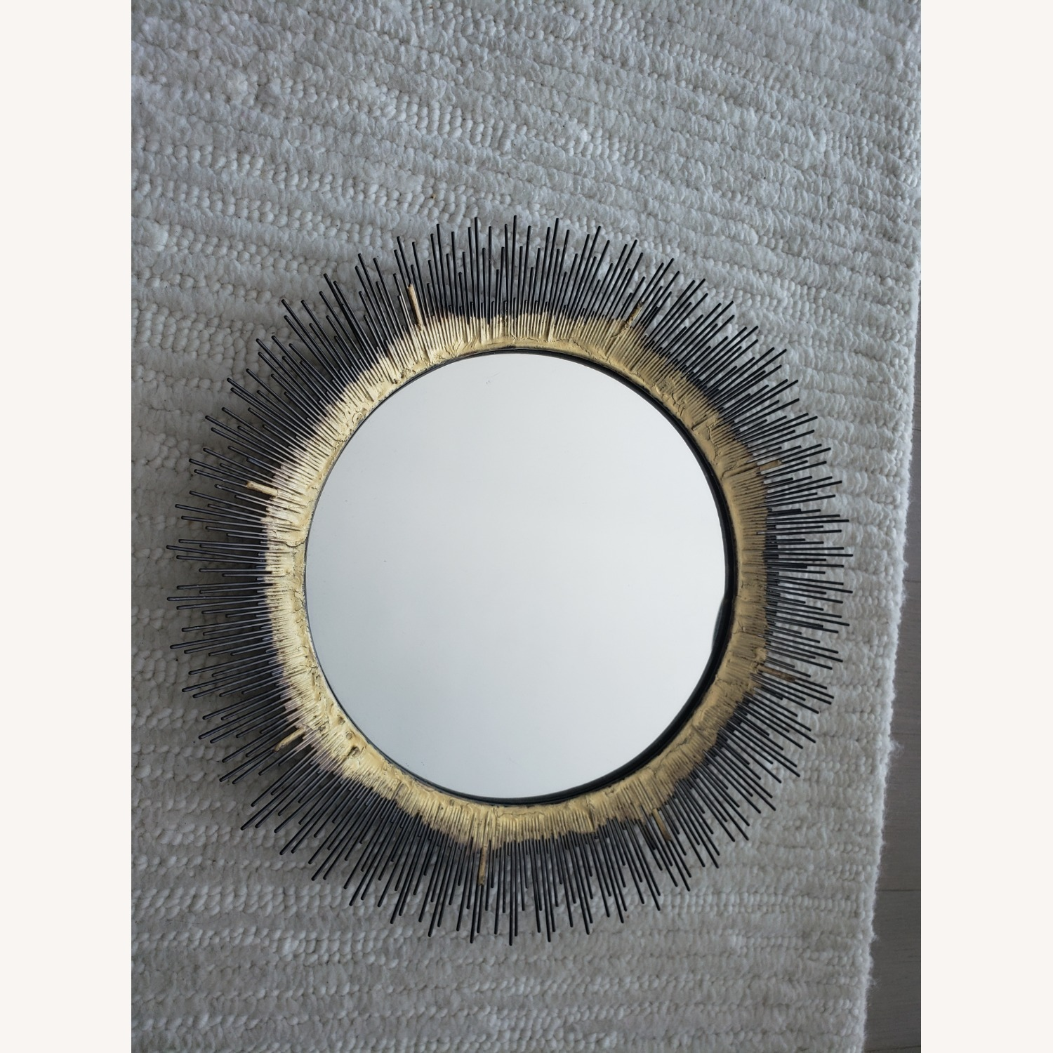 Crate and Barrel Brass Round Wall Mirror - image-1