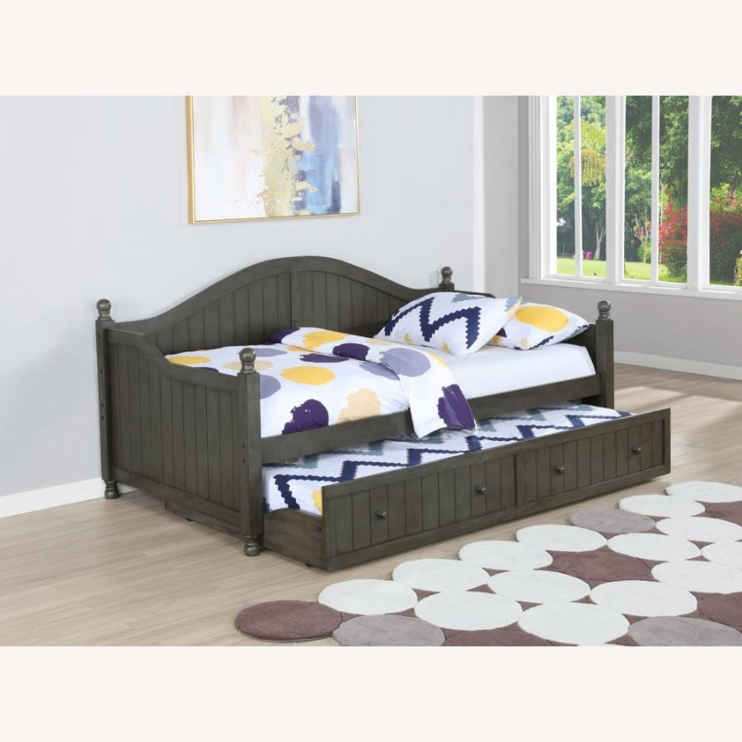 Twin Daybed In Warm Grey Finish W/ Trundle - image-2