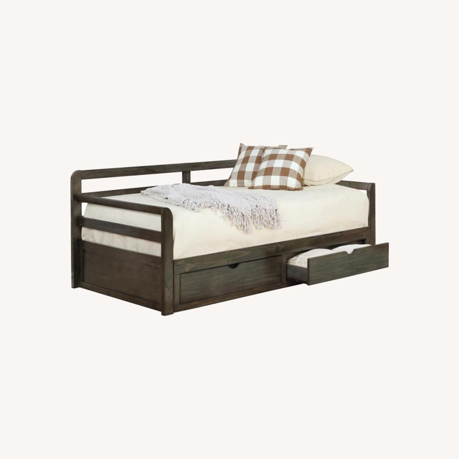 Daybed In Grey Wood Finish W/ Trundle - image-3