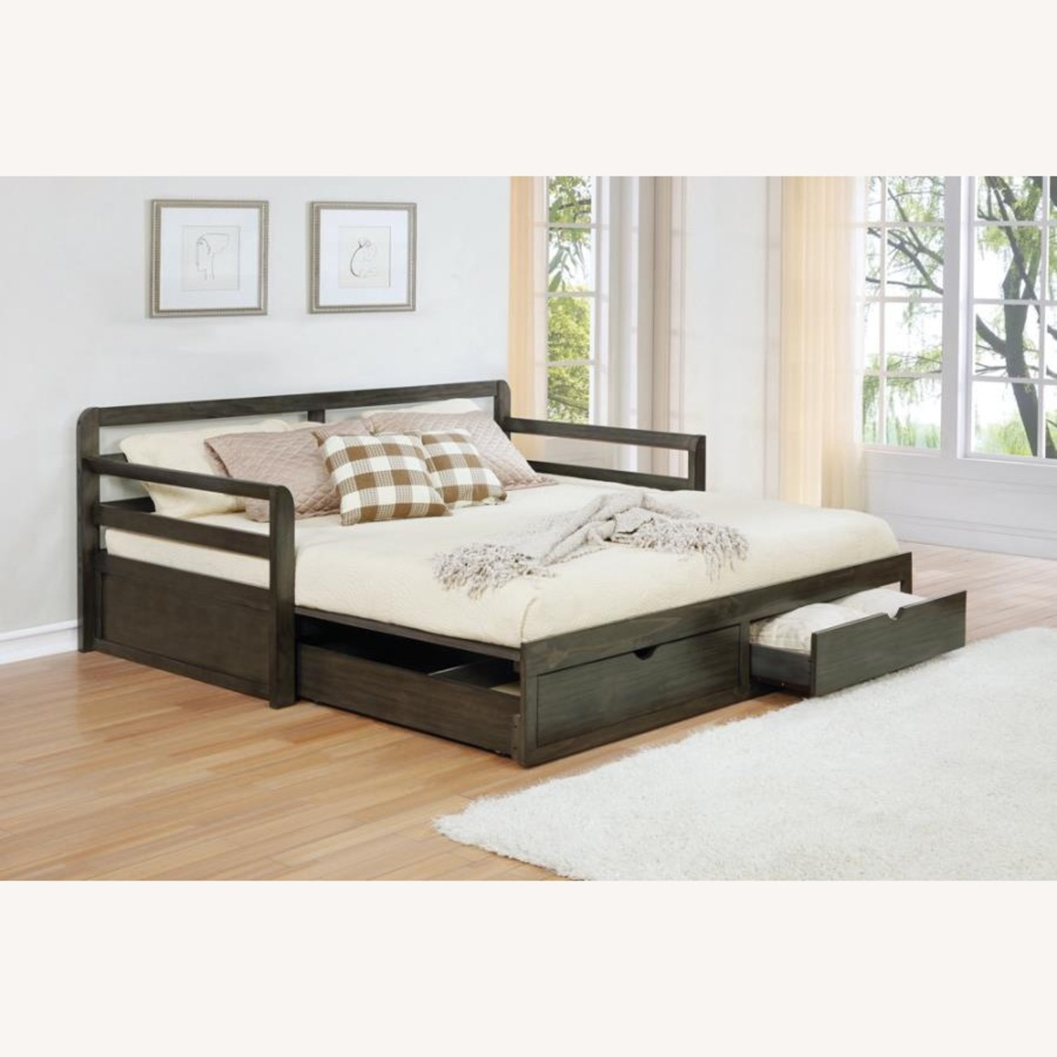 Daybed In Grey Wood Finish W/ Trundle - image-1