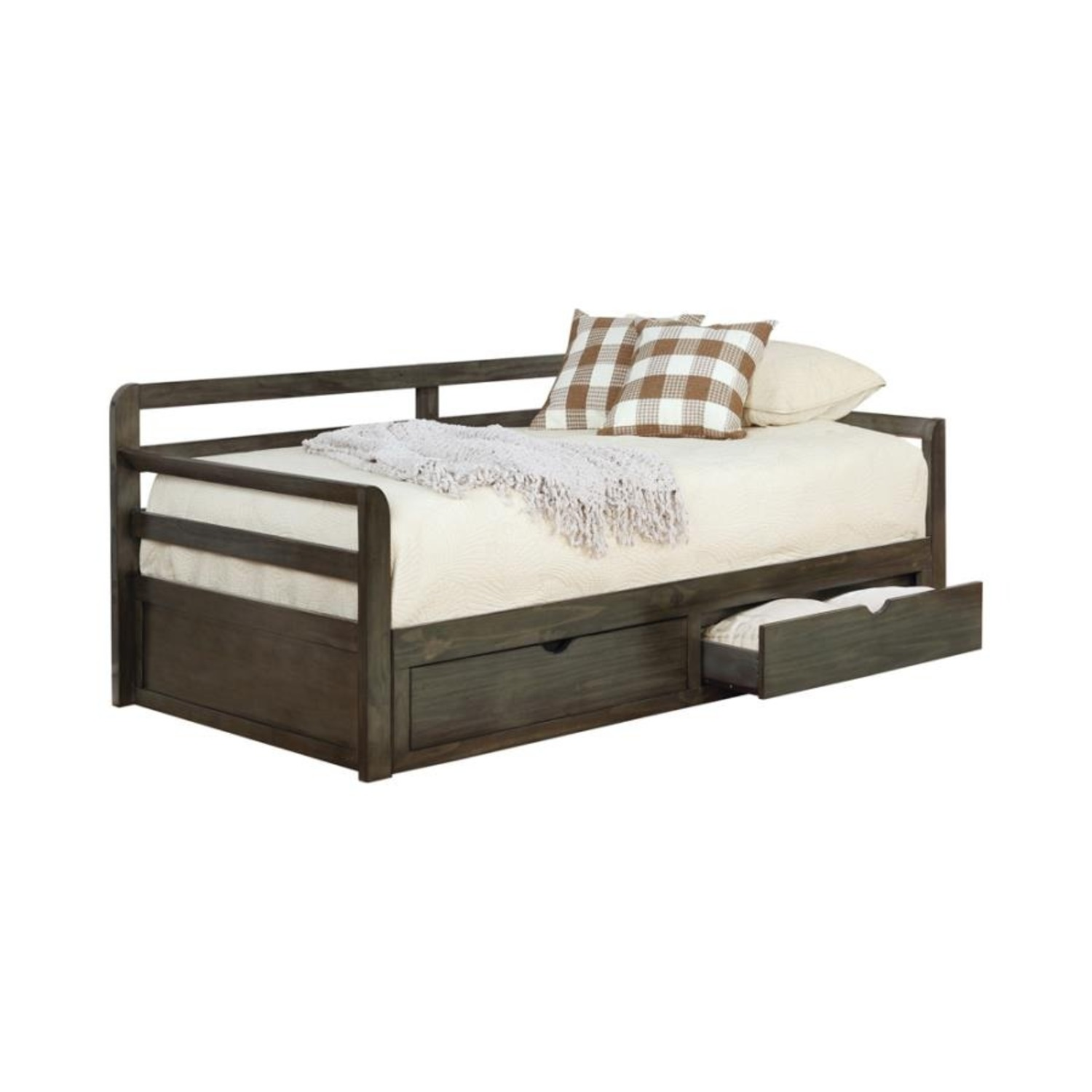 Daybed In Grey Wood Finish W/ Trundle - image-0