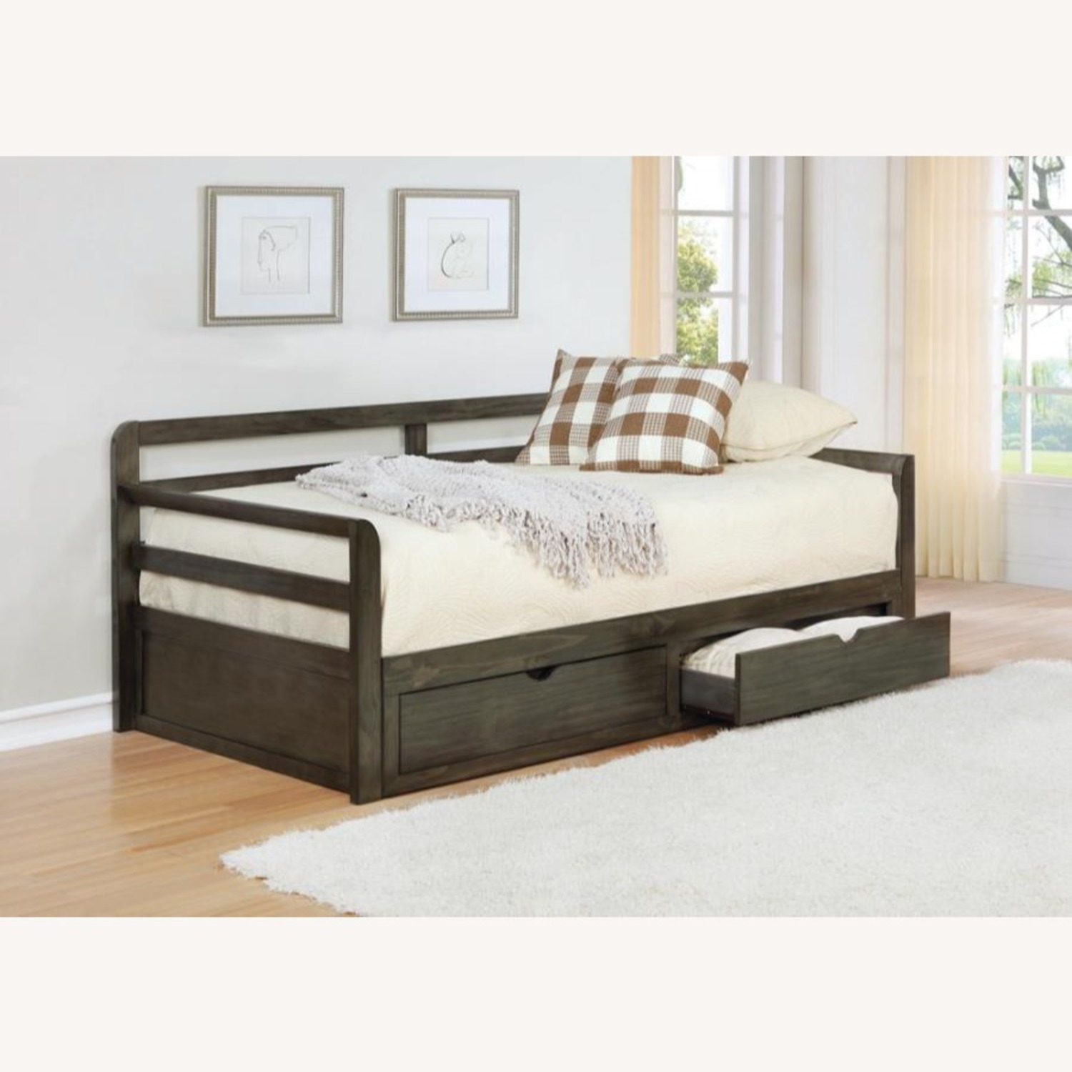 Daybed In Grey Wood Finish W/ Trundle - image-2