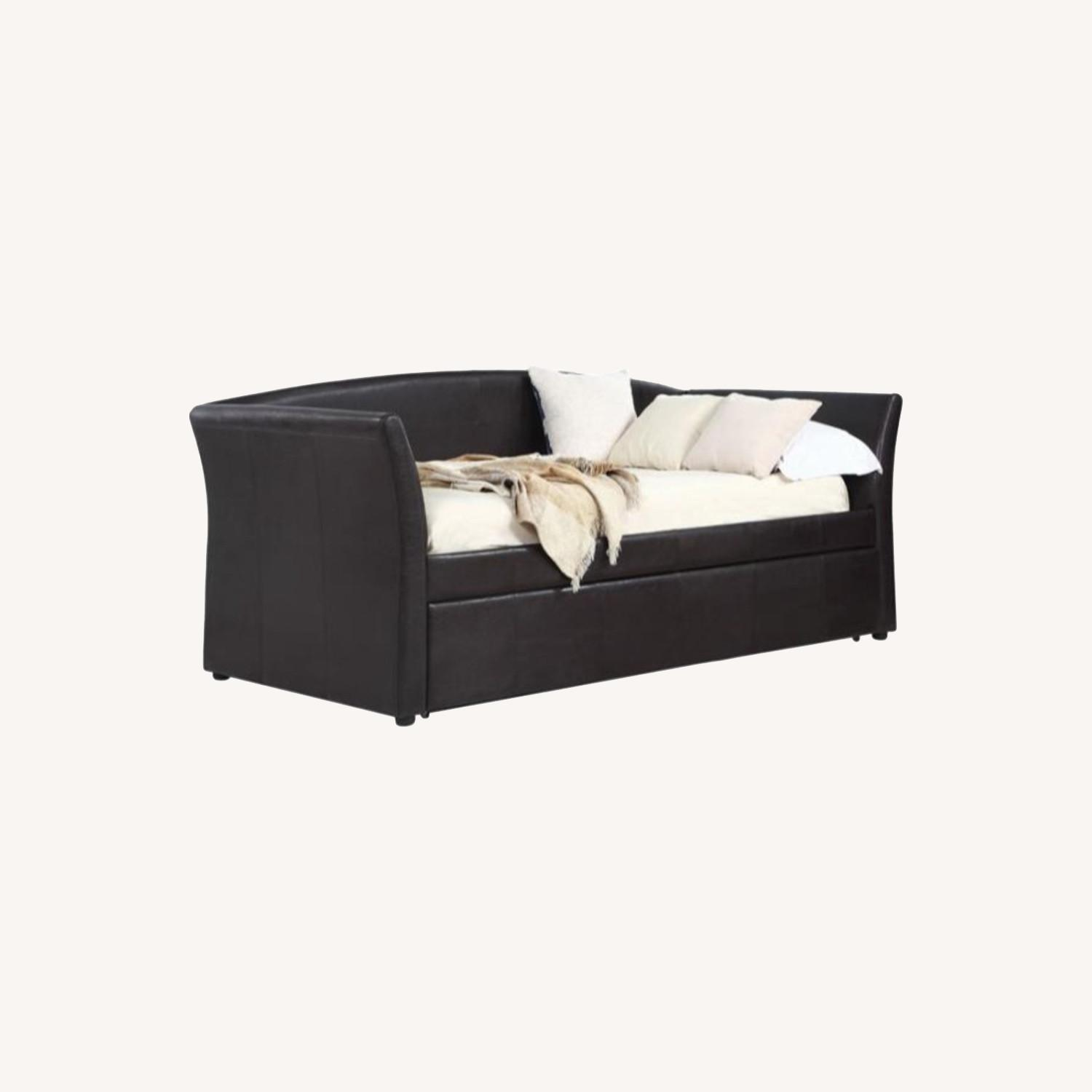 Twin Daybed In Dark Brown Leatherette Upholstery - image-4