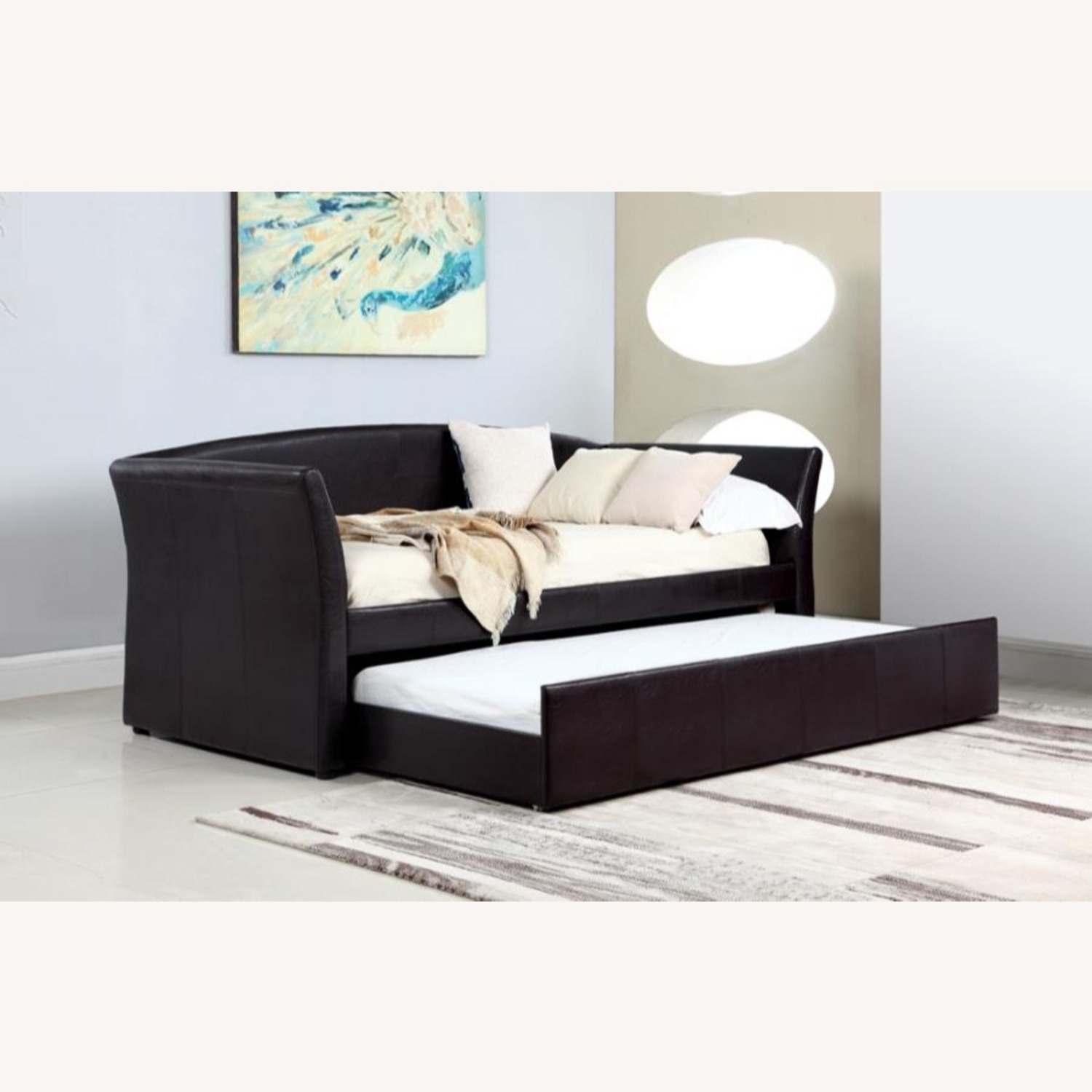 Twin Daybed In Dark Brown Leatherette Upholstery - image-3
