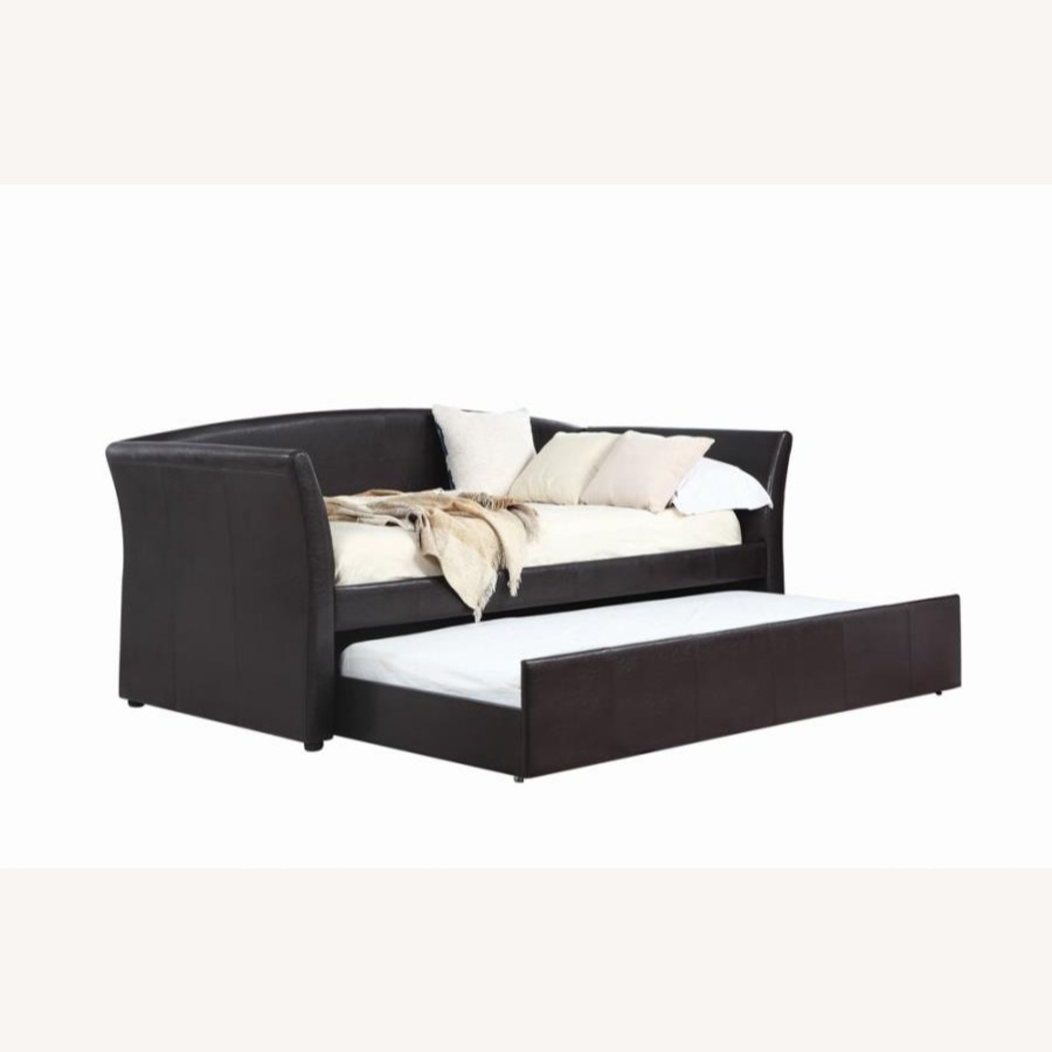 Twin Daybed In Dark Brown Leatherette Upholstery - image-1