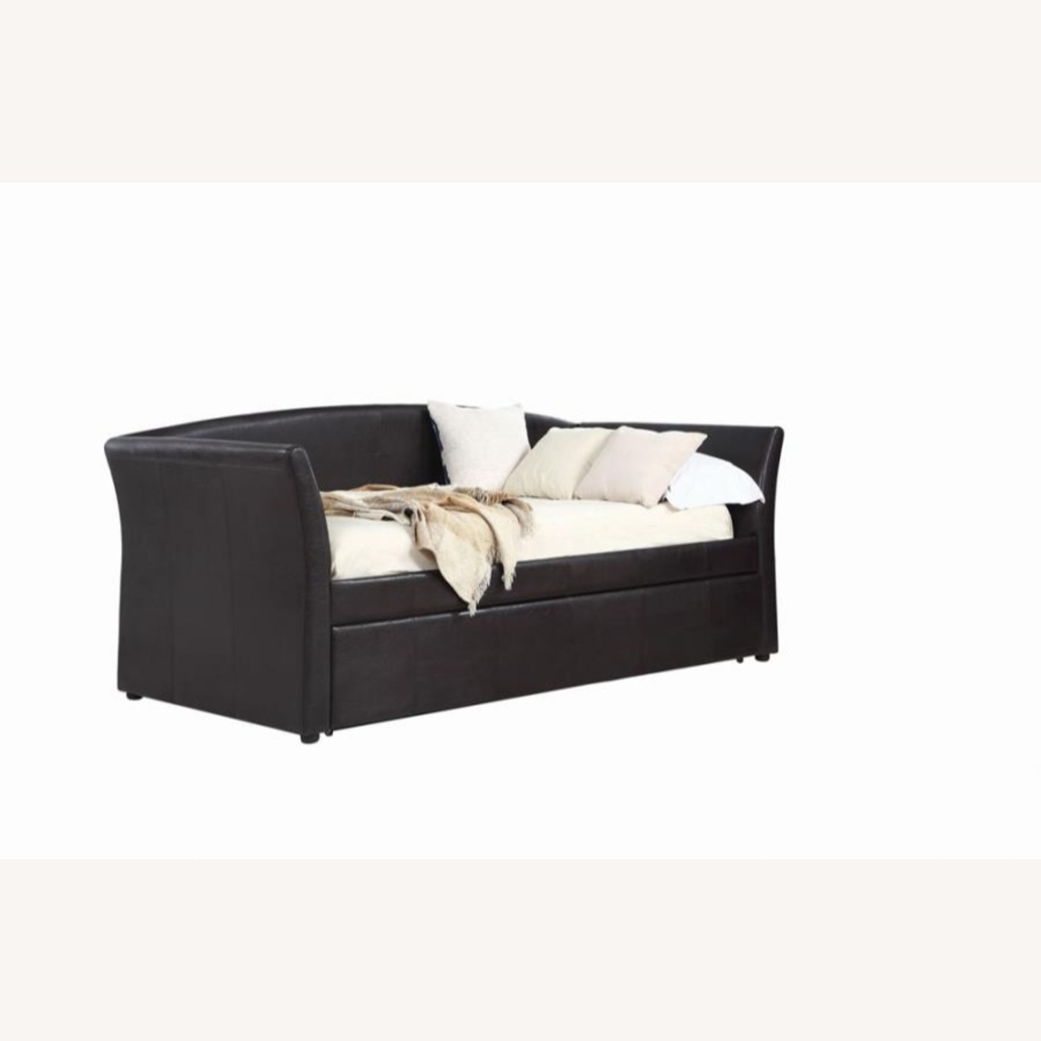 Twin Daybed In Dark Brown Leatherette Upholstery - image-0