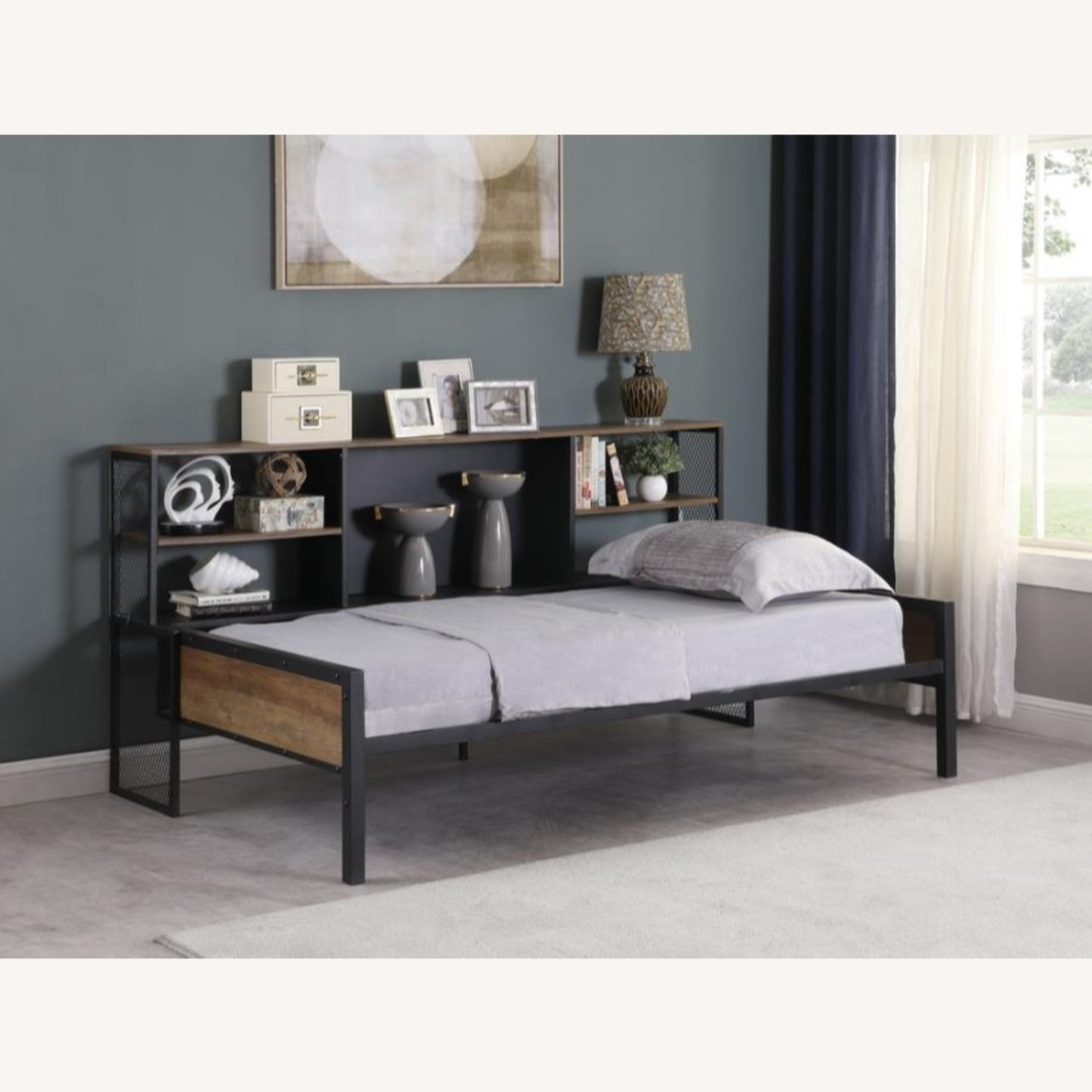 Twin Daybed In Chestnut & Matte Black Finish - image-5