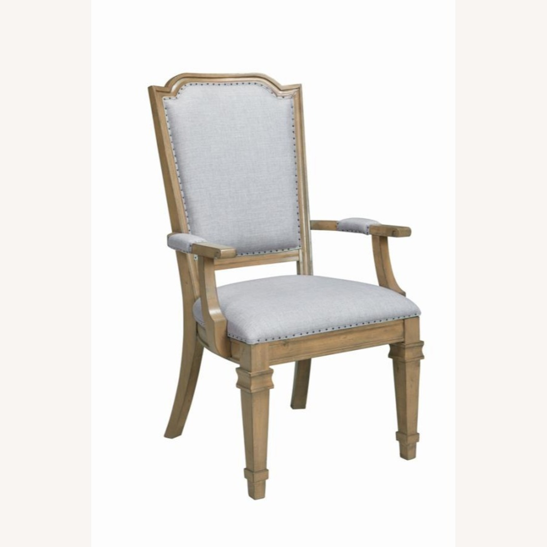 Armchair In Grey Fabric W/ Nailhead Trim - image-0