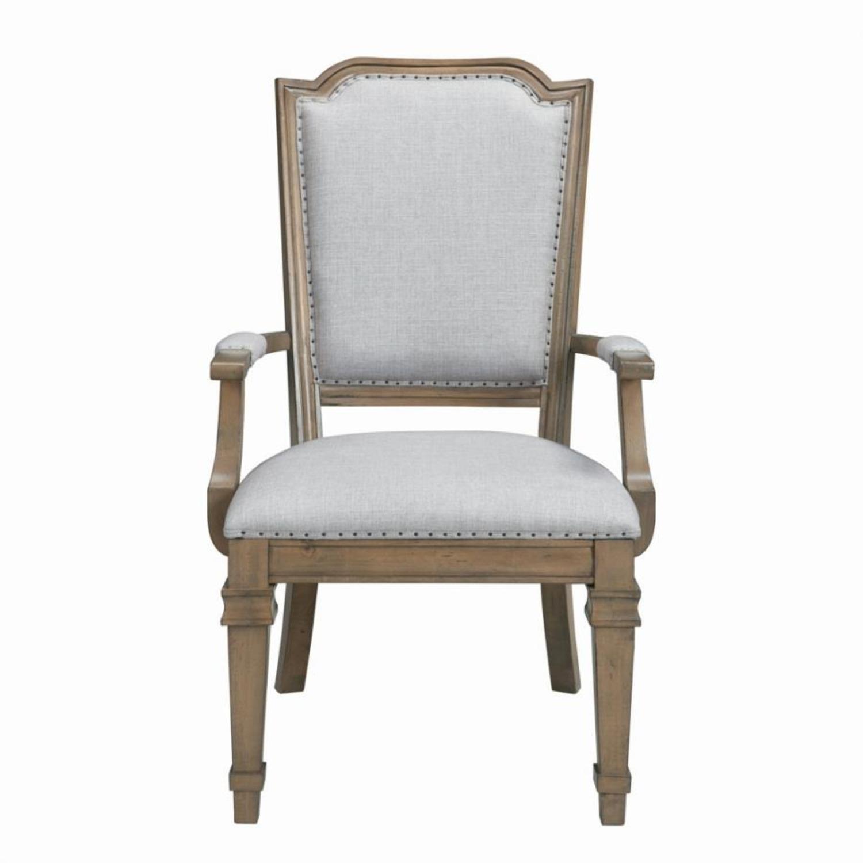 Armchair In Grey Fabric W/ Nailhead Trim - image-1