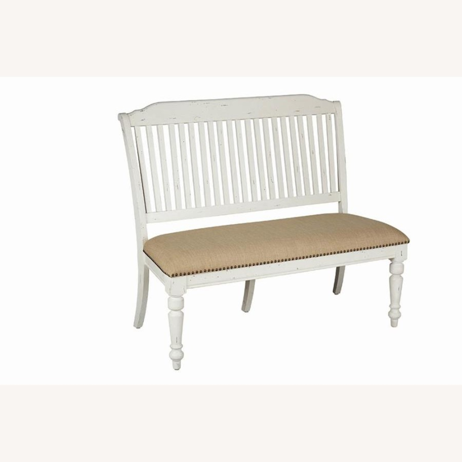Bench In White Finish W/ Stick-Back Seating - image-0