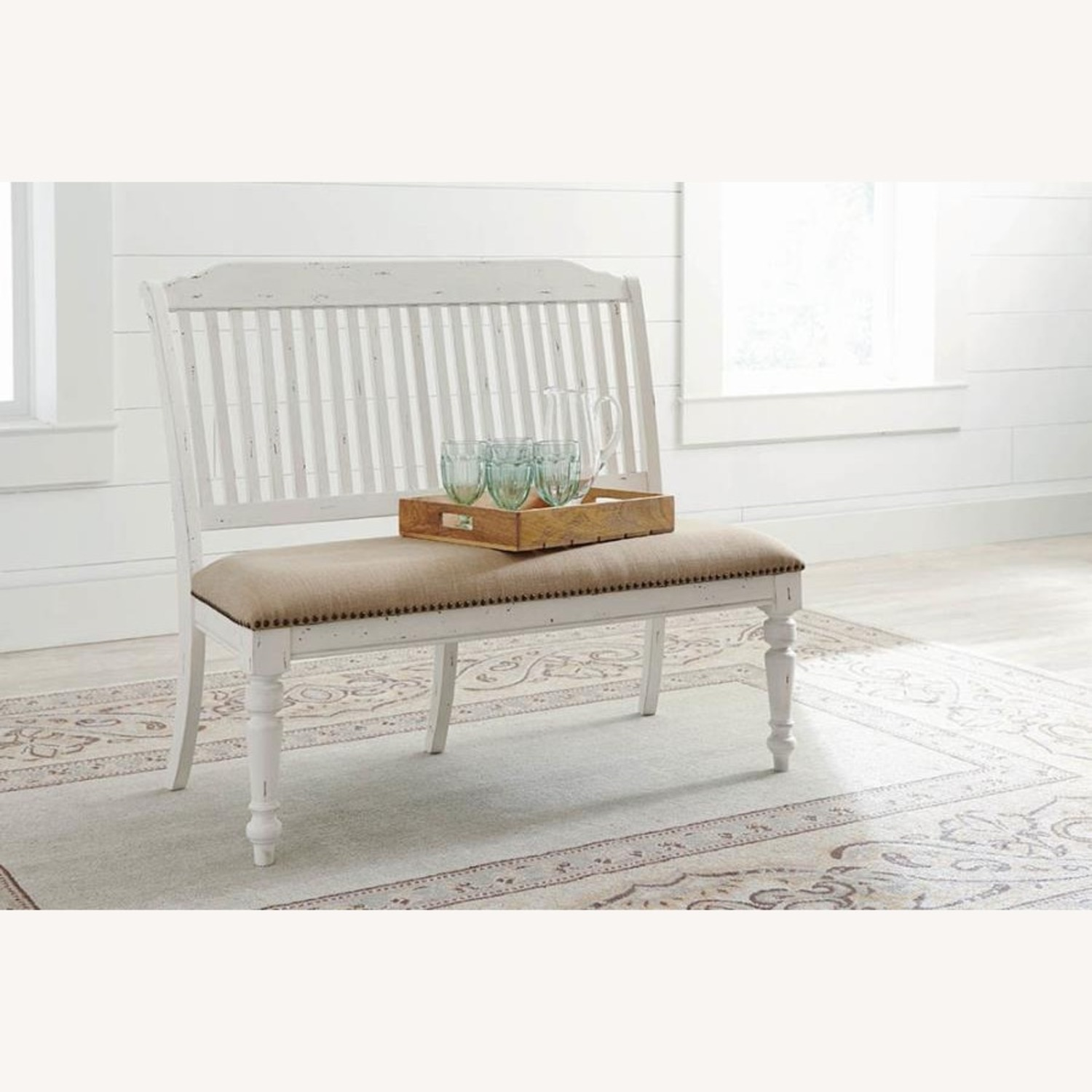Bench In White Finish W/ Stick-Back Seating - image-5