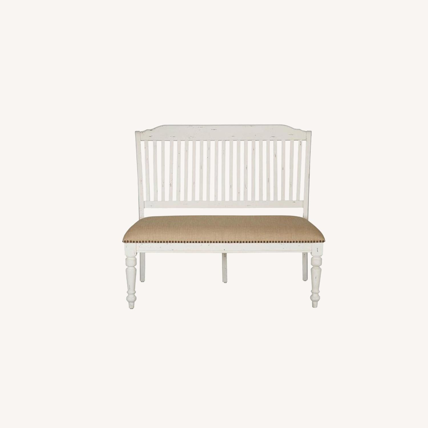 Bench In White Finish W/ Stick-Back Seating - image-8