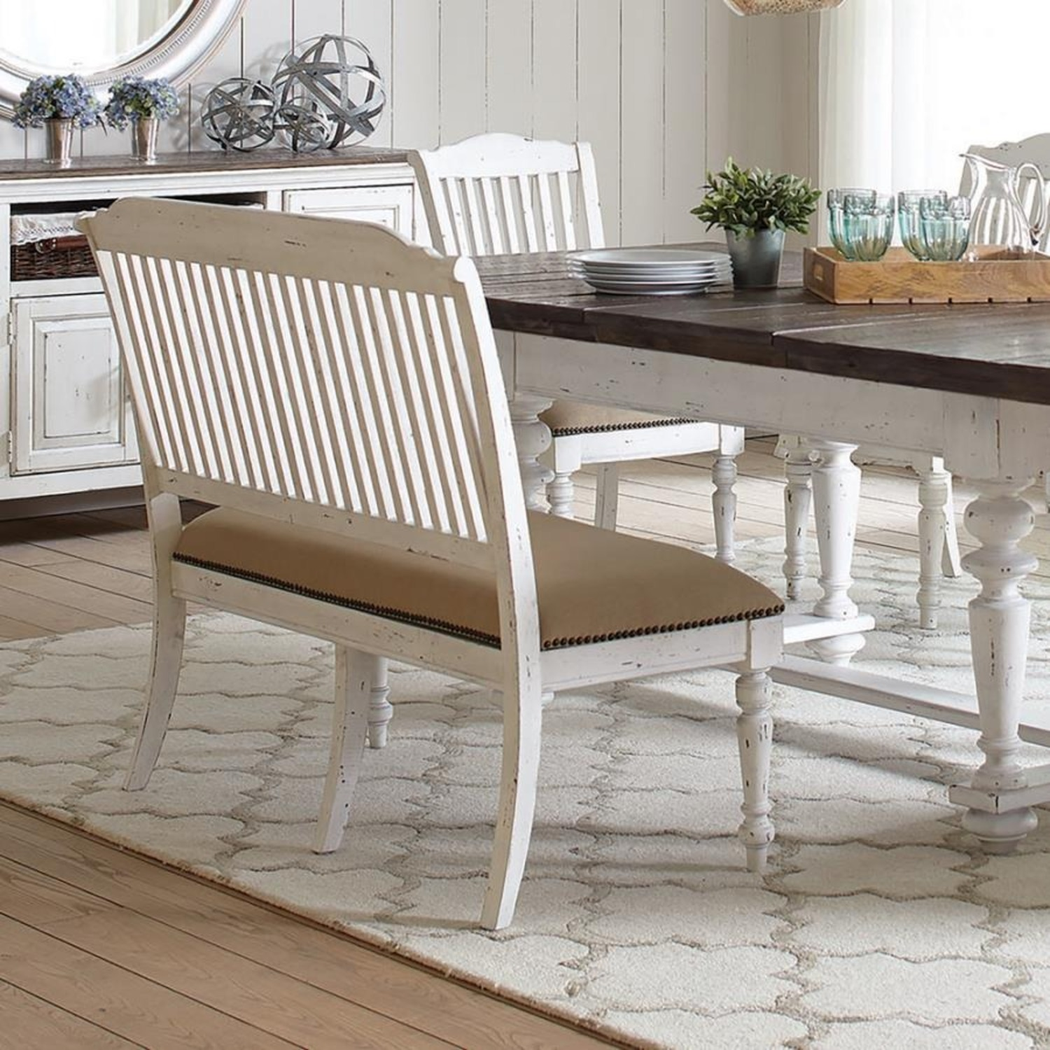 Bench In White Finish W/ Stick-Back Seating - image-6