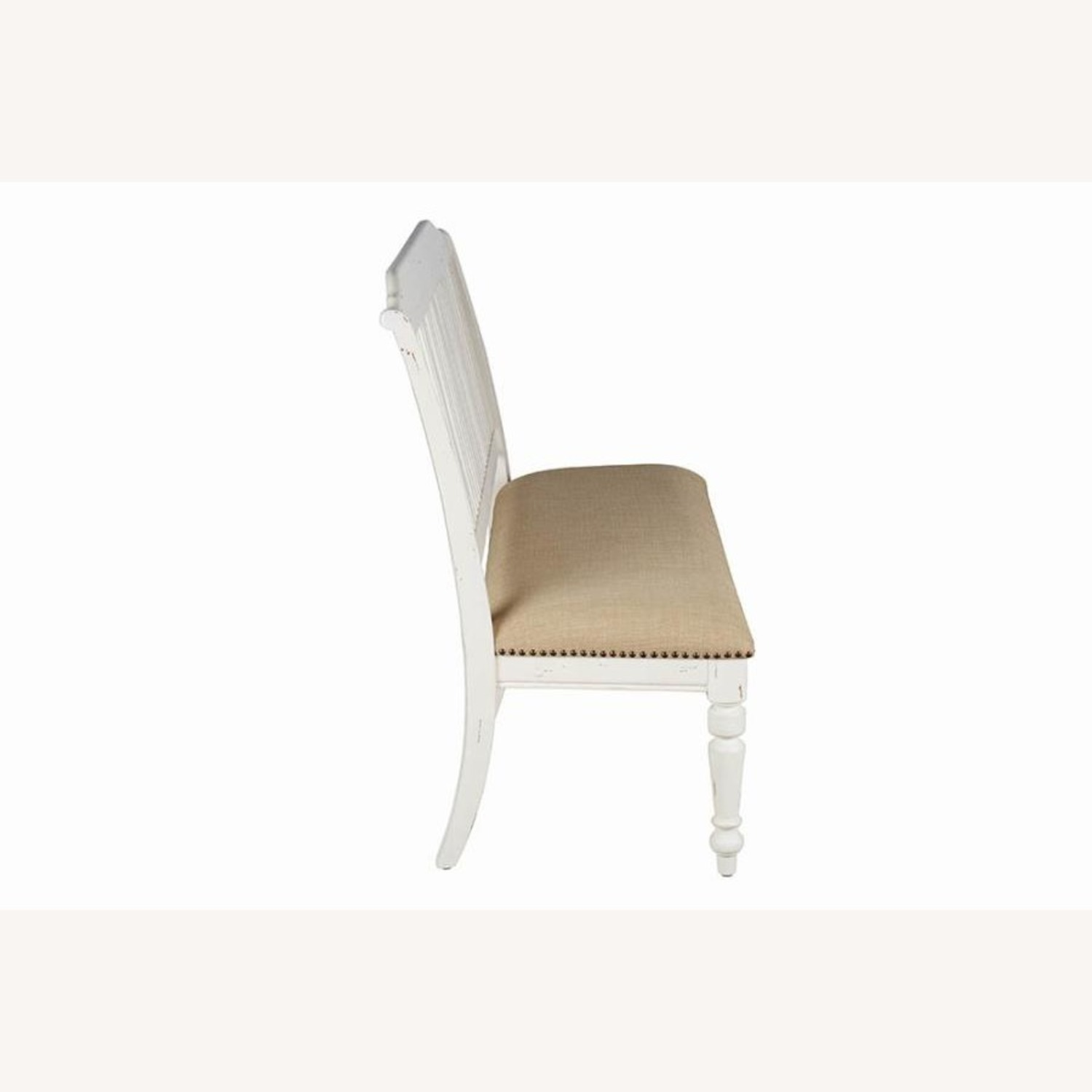 Bench In White Finish W/ Stick-Back Seating - image-3