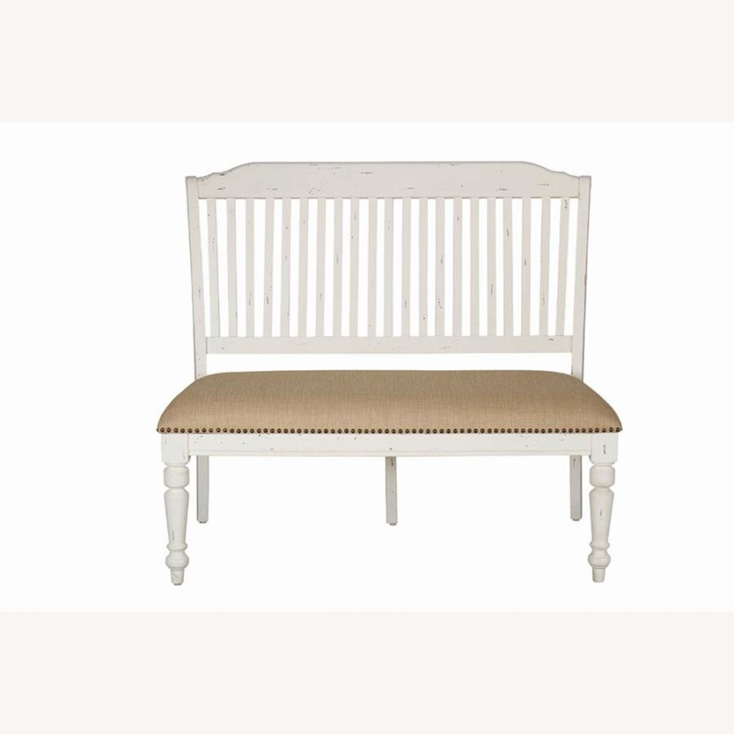 Bench In White Finish W/ Stick-Back Seating - image-1