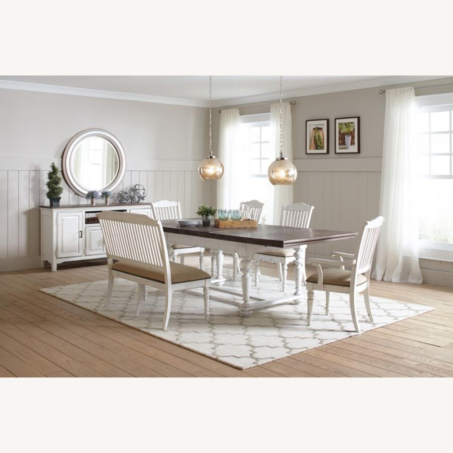 Bench In White Finish W/ Stick-Back Seating - image-7