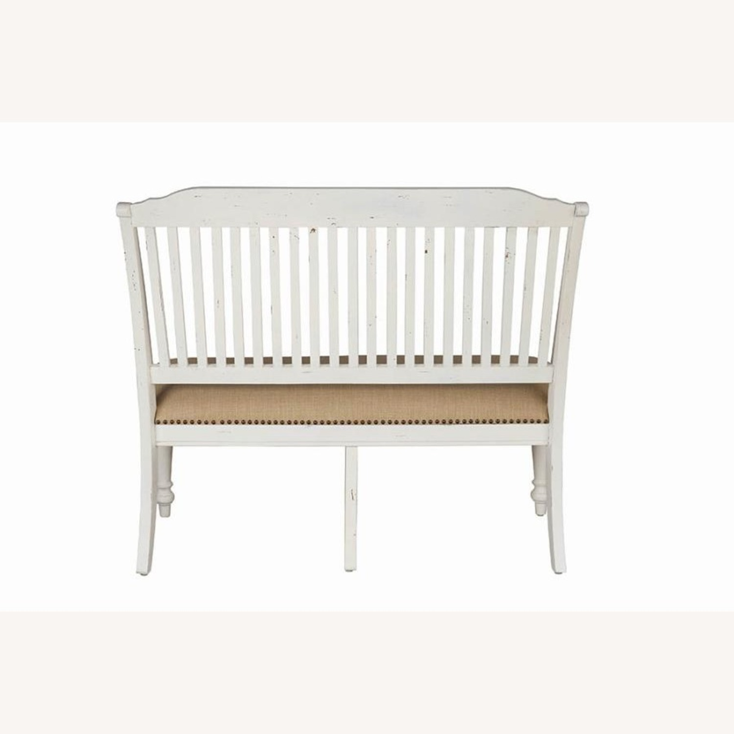 Bench In White Finish W/ Stick-Back Seating - image-2