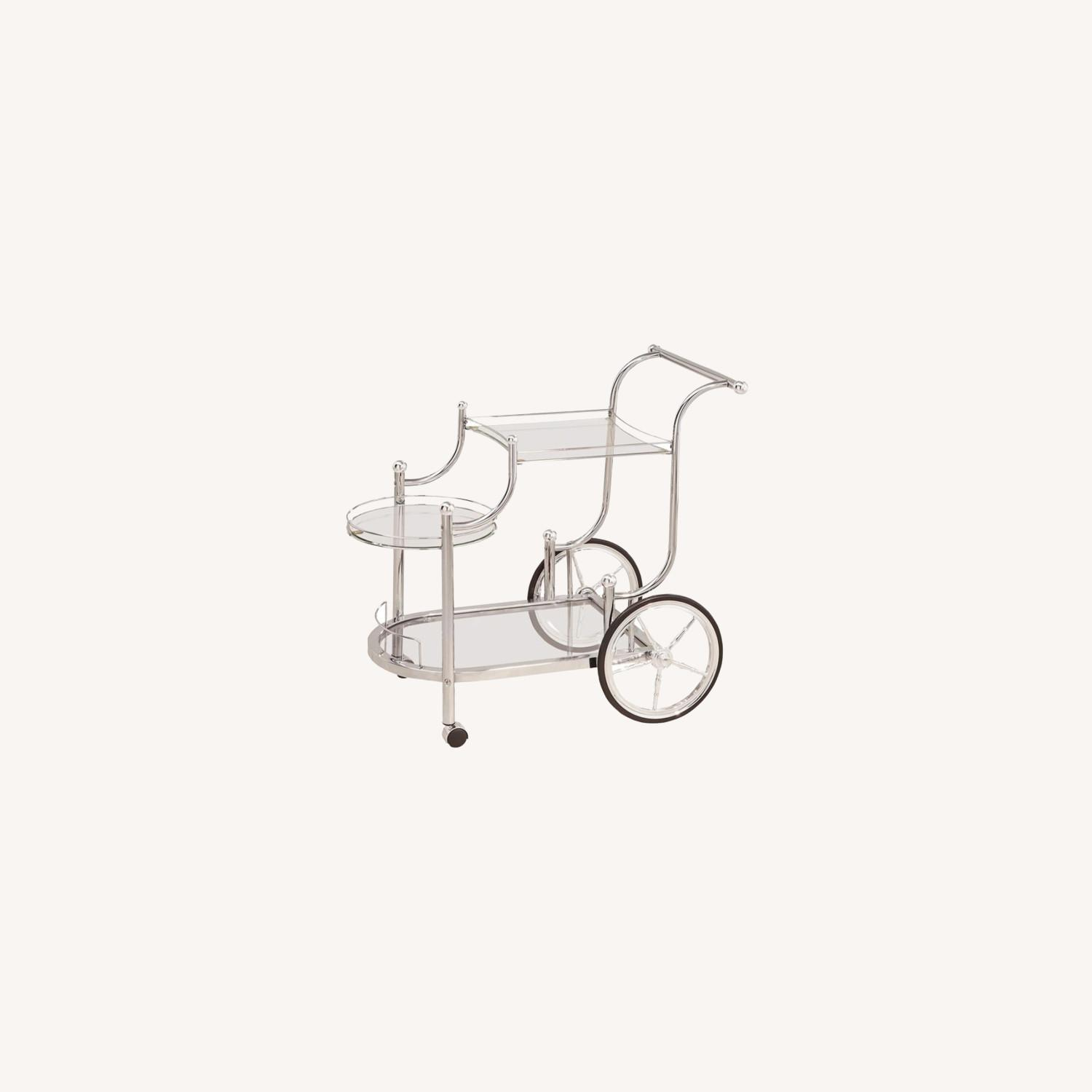Serving Cart In Chrome Finish W/ Tempered Glass - image-3