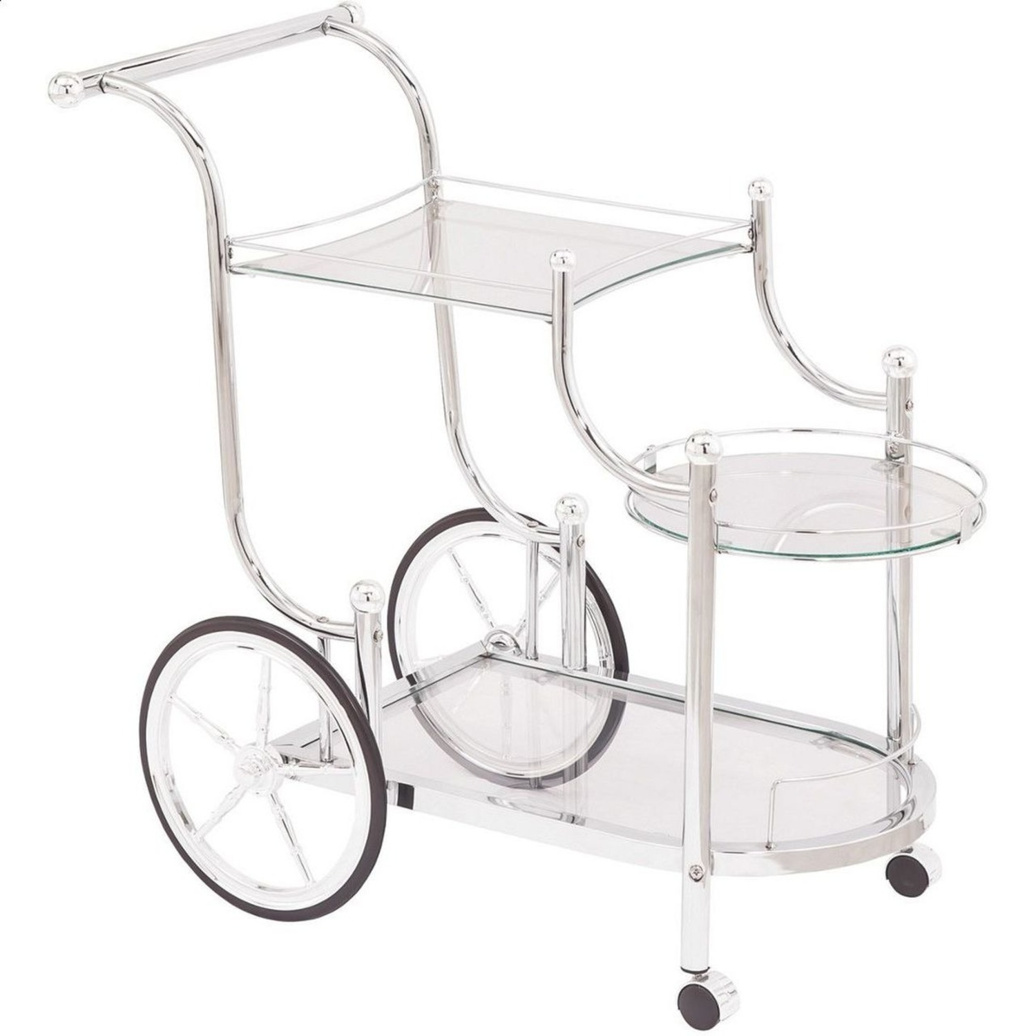 Serving Cart In Chrome Finish W/ Tempered Glass - image-1