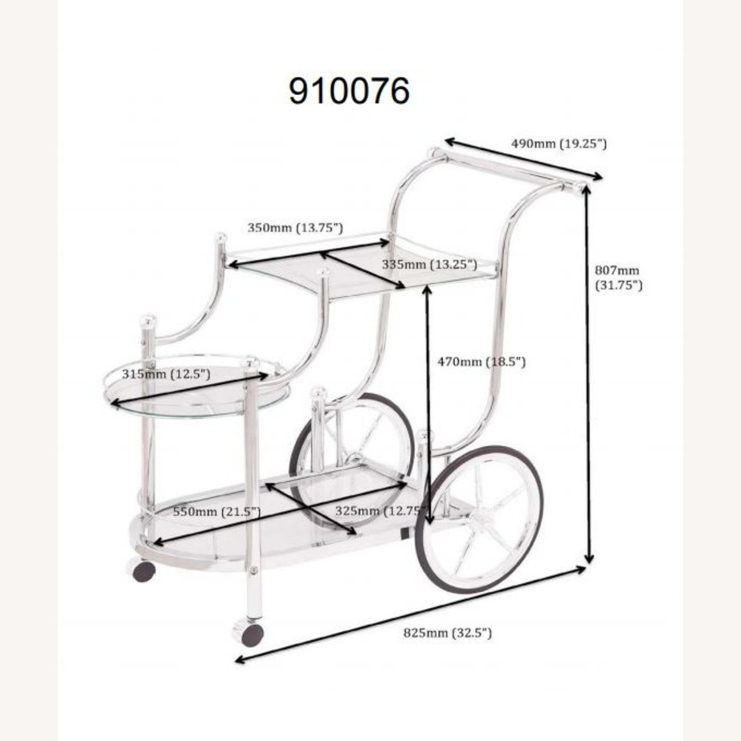 Serving Cart In Chrome Finish W/ Tempered Glass - image-4
