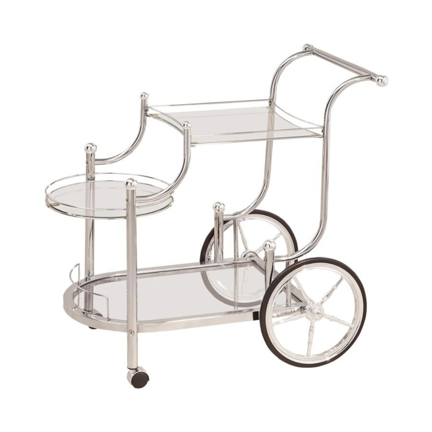 Serving Cart In Chrome Finish W/ Tempered Glass - image-0