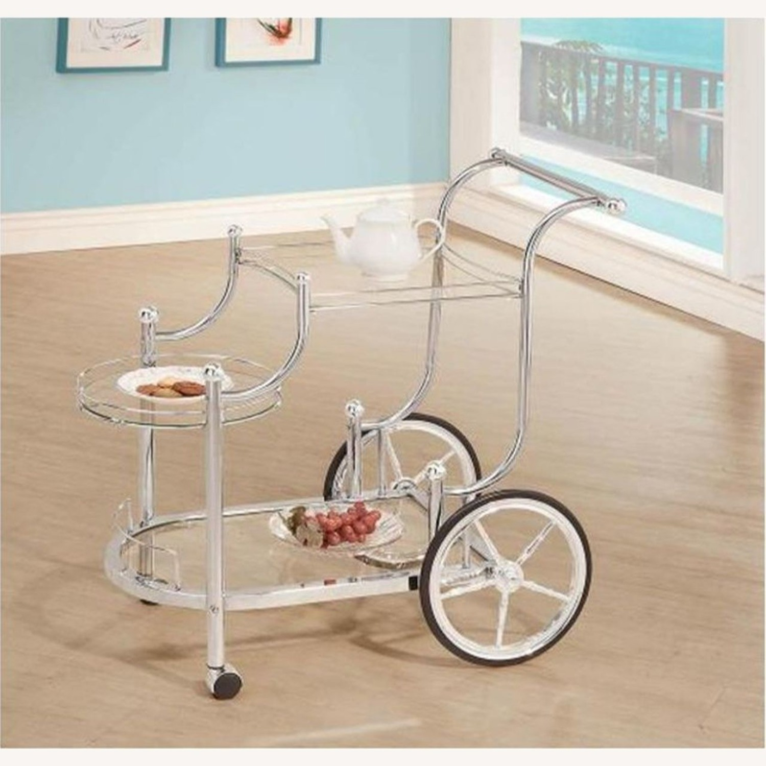 Serving Cart In Chrome Finish W/ Tempered Glass - image-2