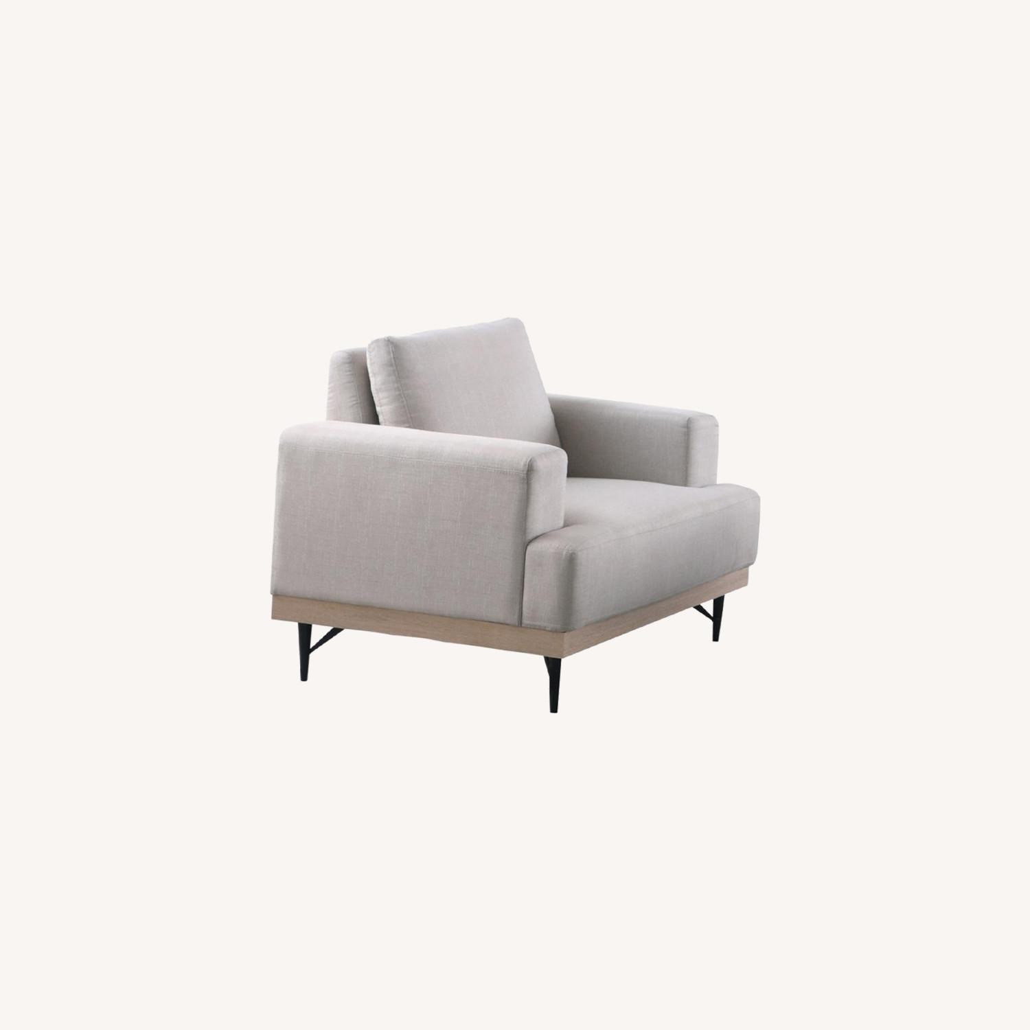 Chair In Beige Faux Linen W/ Pocket Coiled Seating - image-3
