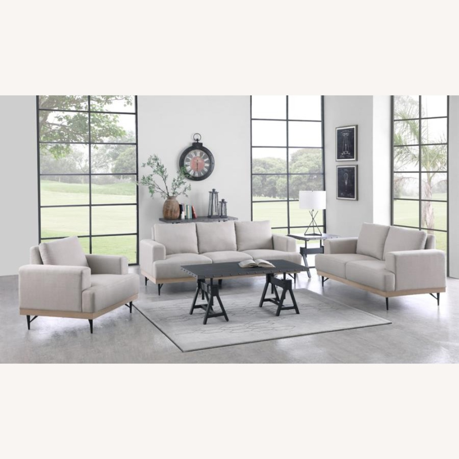 Chair In Beige Faux Linen W/ Pocket Coiled Seating - image-2
