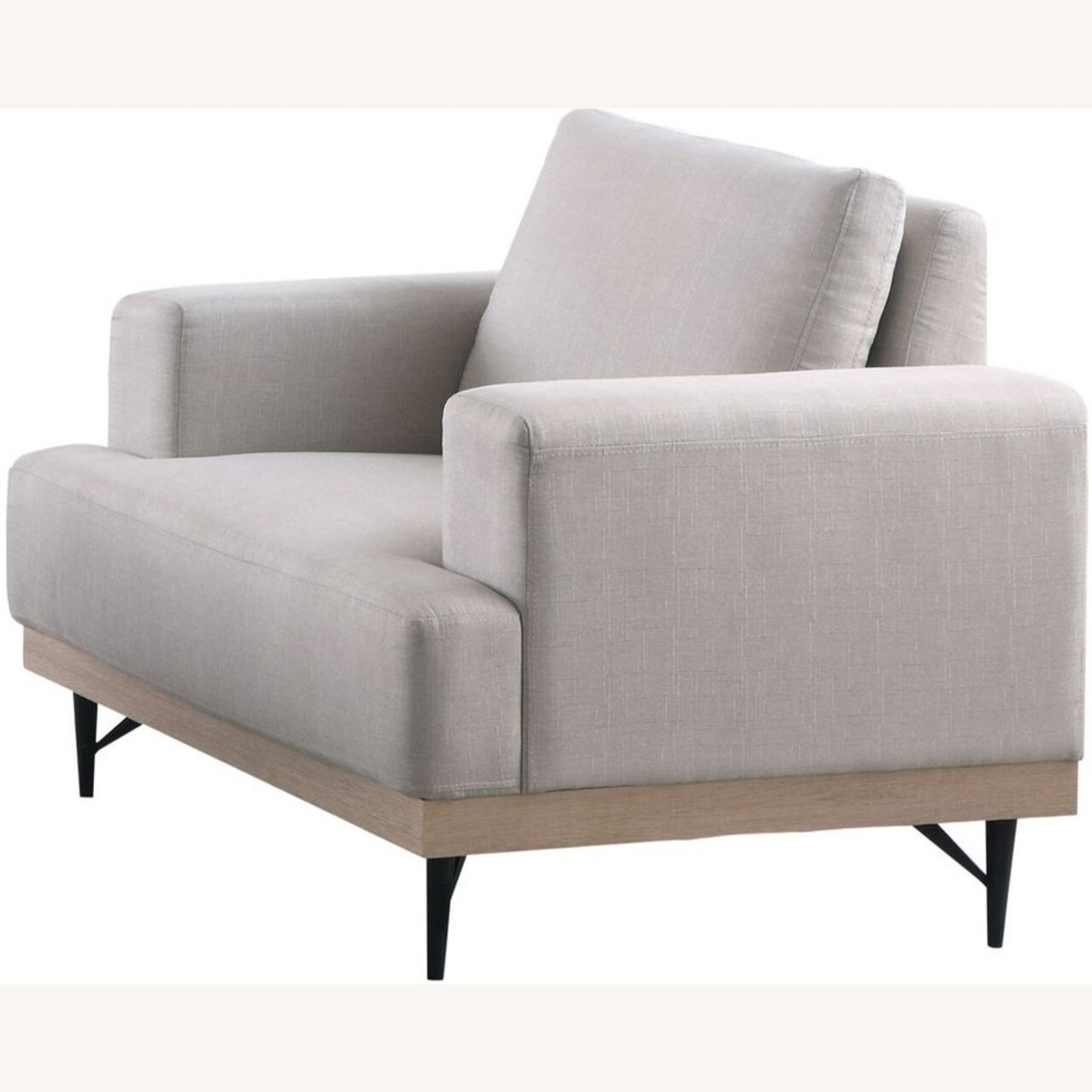 Chair In Beige Faux Linen W/ Pocket Coiled Seating - image-1