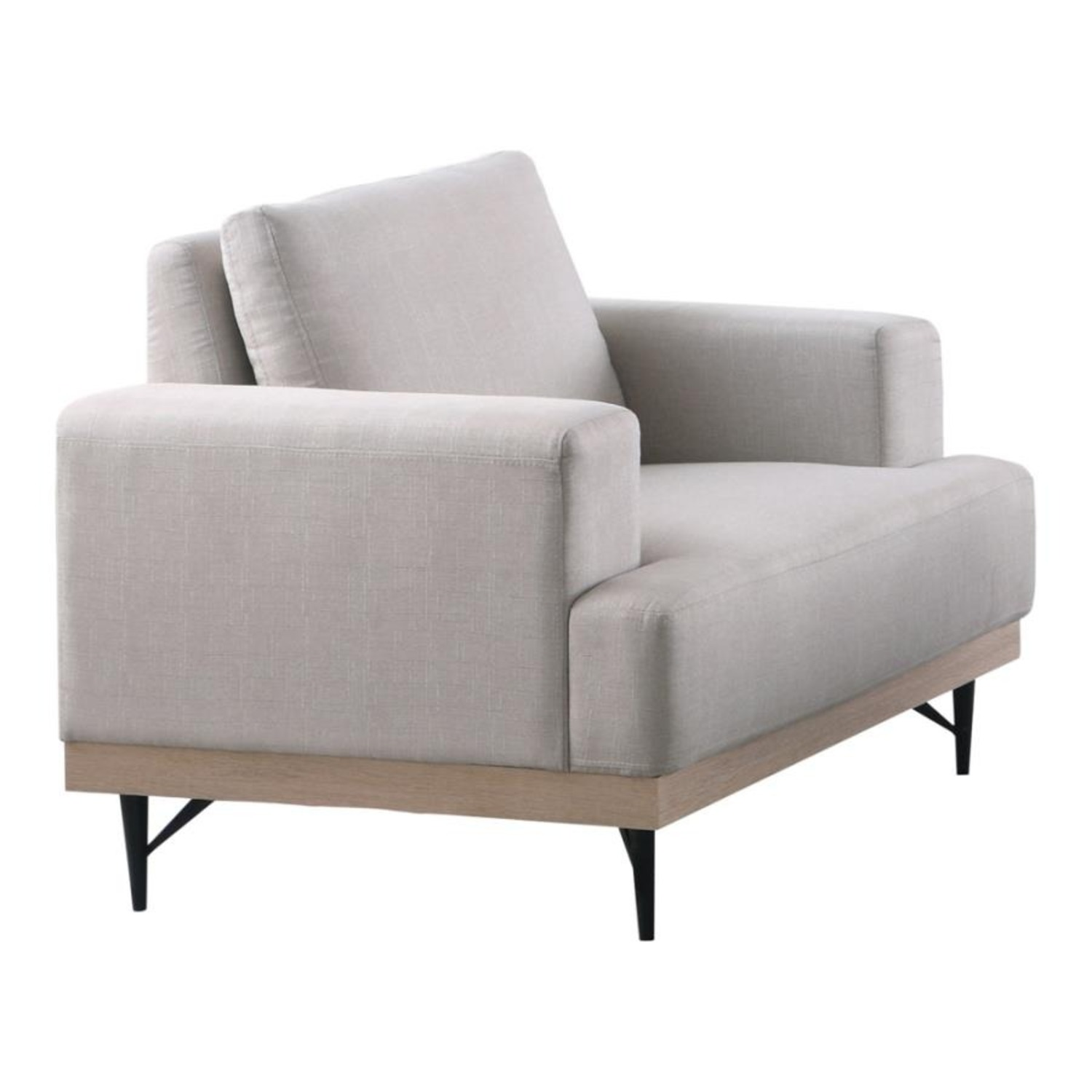 Chair In Beige Faux Linen W/ Pocket Coiled Seating - image-0
