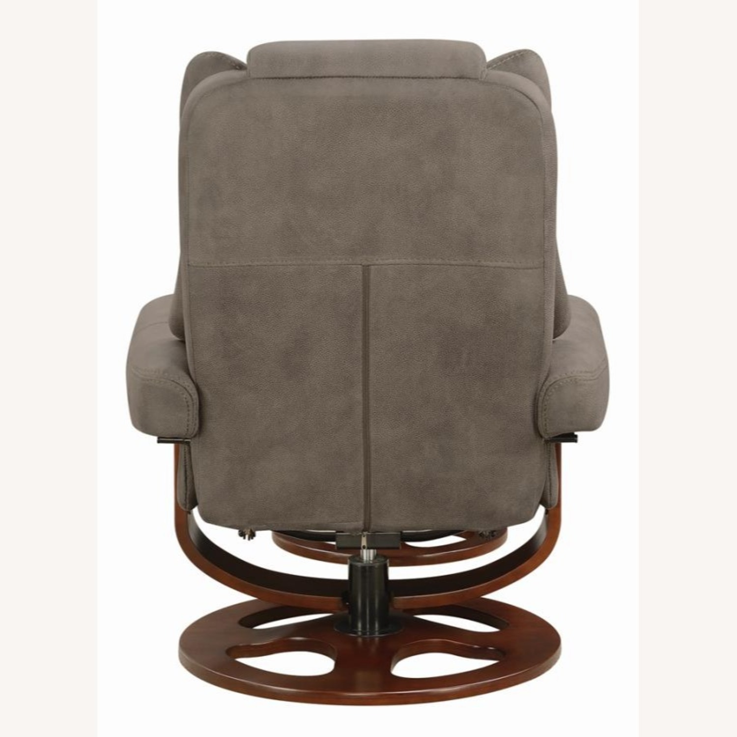 Recliner W/ Ottoman In 2-Tone Grey Faux Suede - image-4