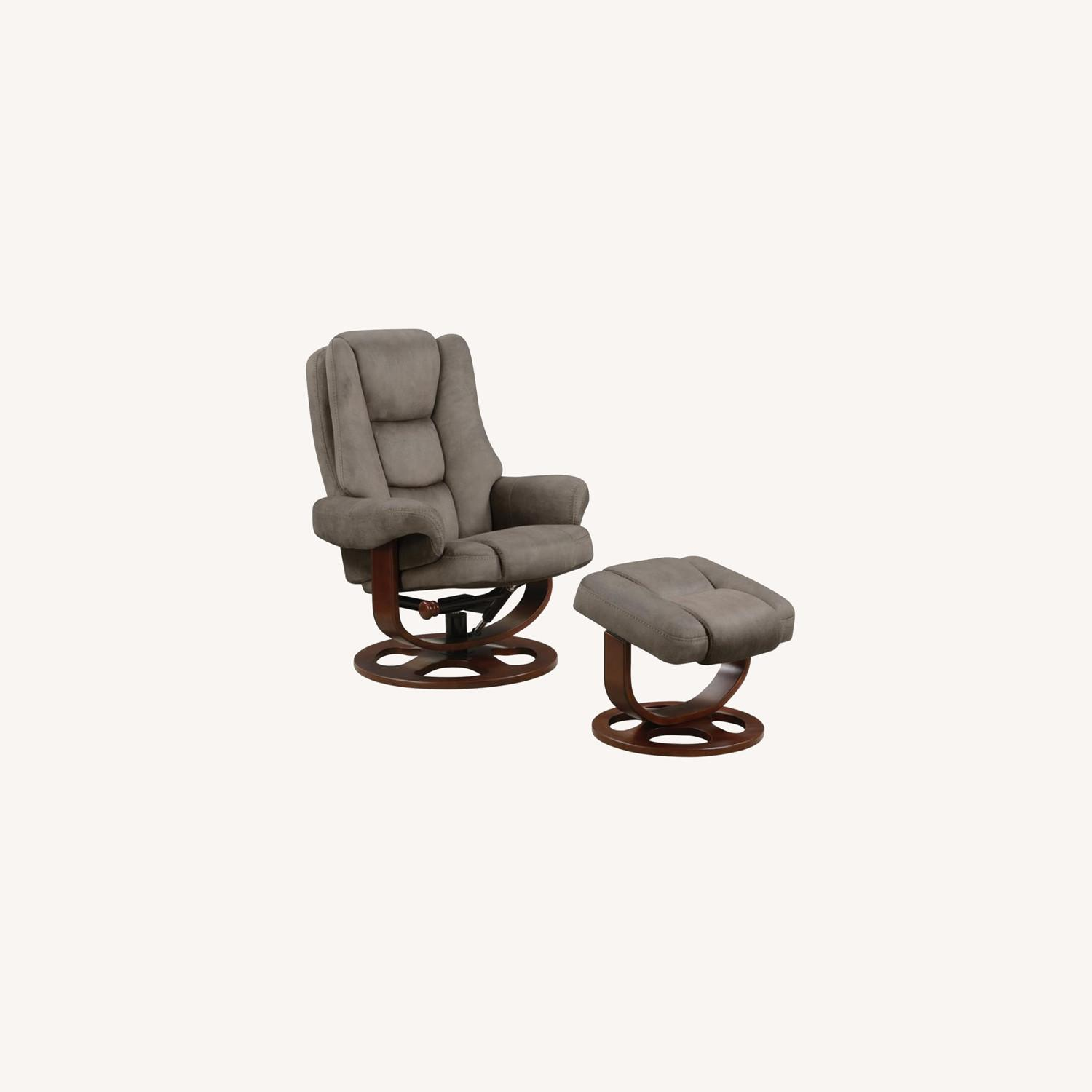Recliner W/ Ottoman In 2-Tone Grey Faux Suede - image-8