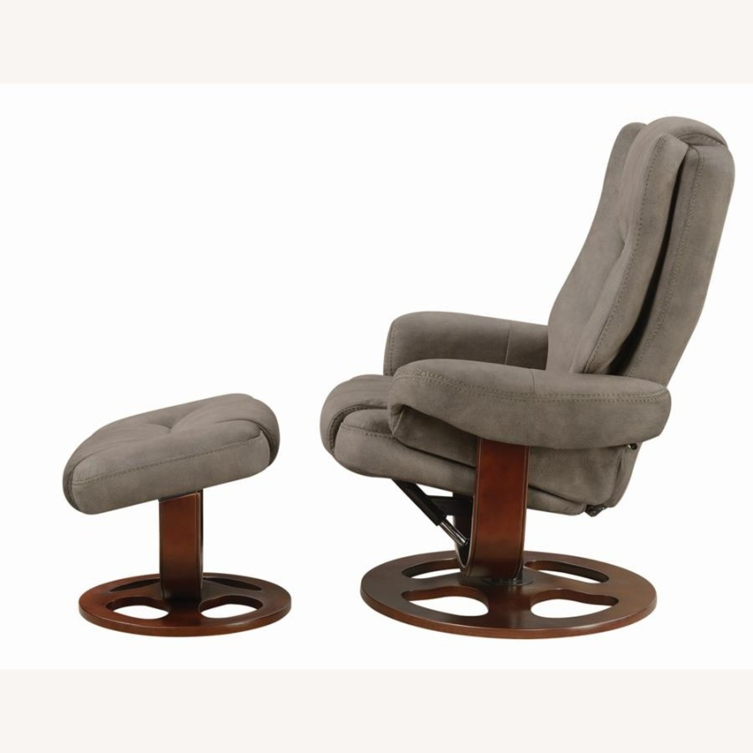 Recliner W/ Ottoman In 2-Tone Grey Faux Suede - image-2