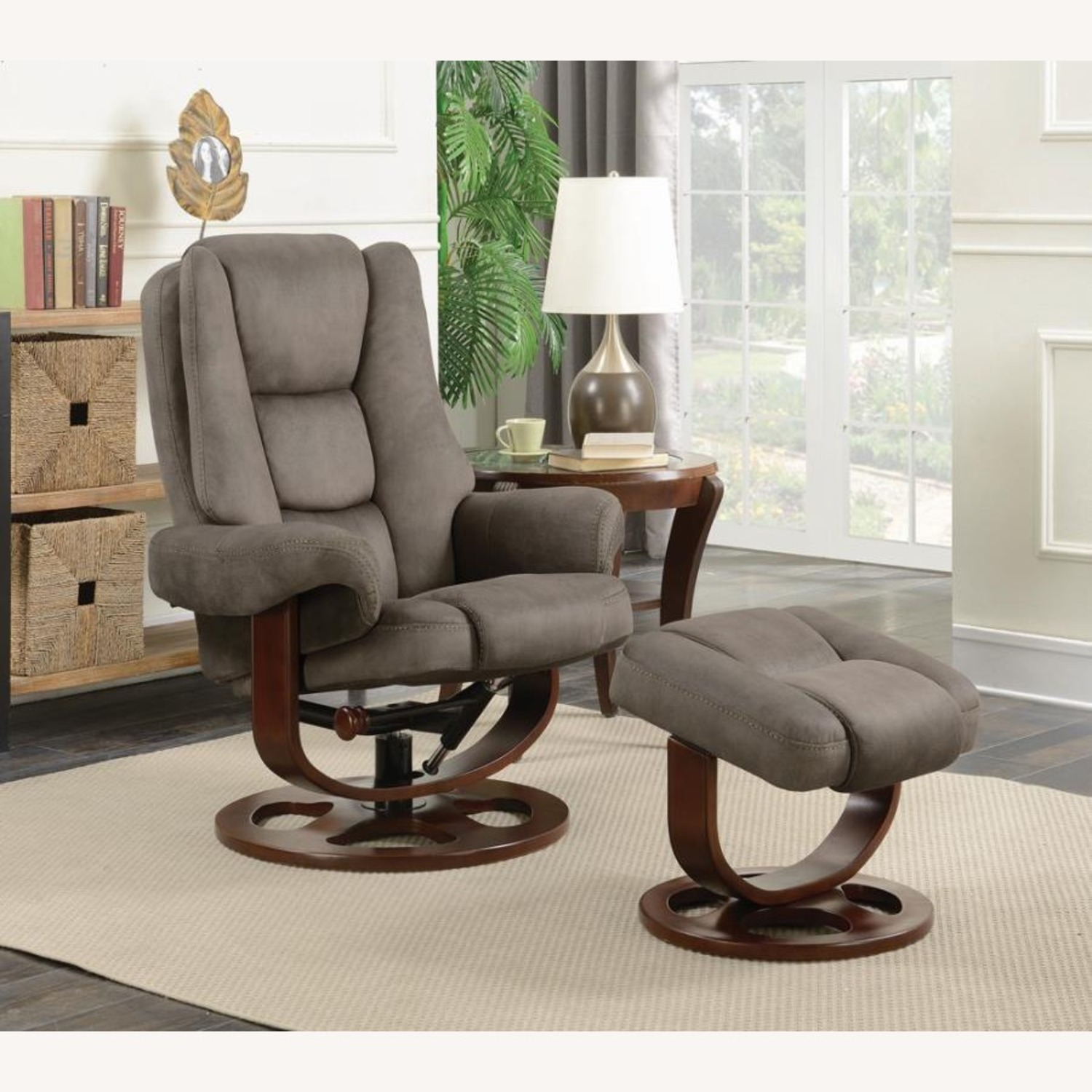 Recliner W/ Ottoman In 2-Tone Grey Faux Suede - image-7
