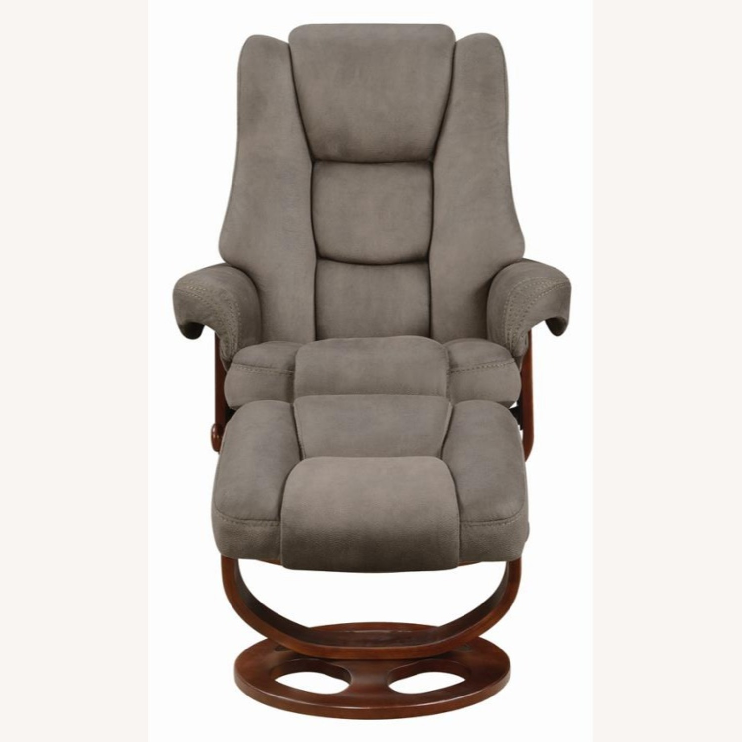 Recliner W/ Ottoman In 2-Tone Grey Faux Suede - image-1