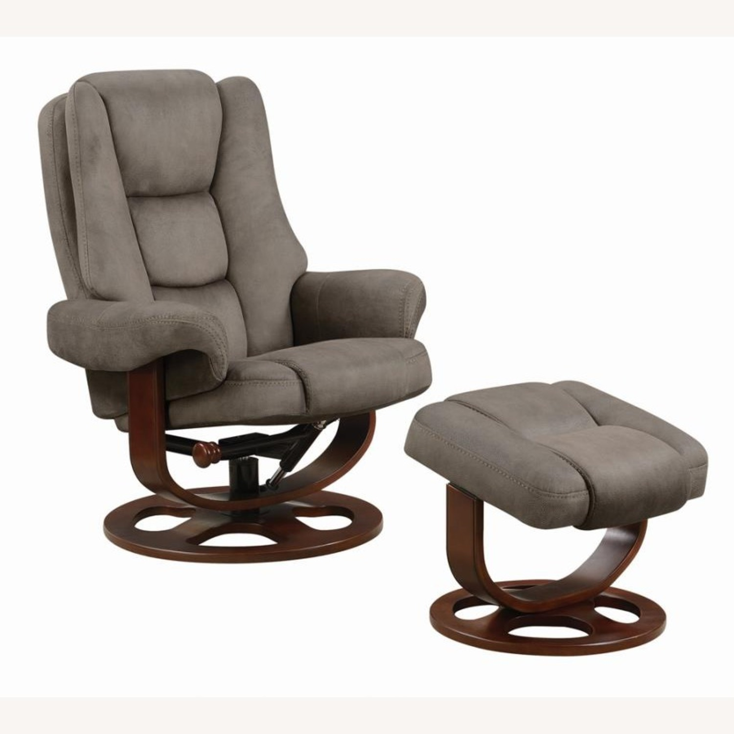 Recliner W/ Ottoman In 2-Tone Grey Faux Suede - image-0