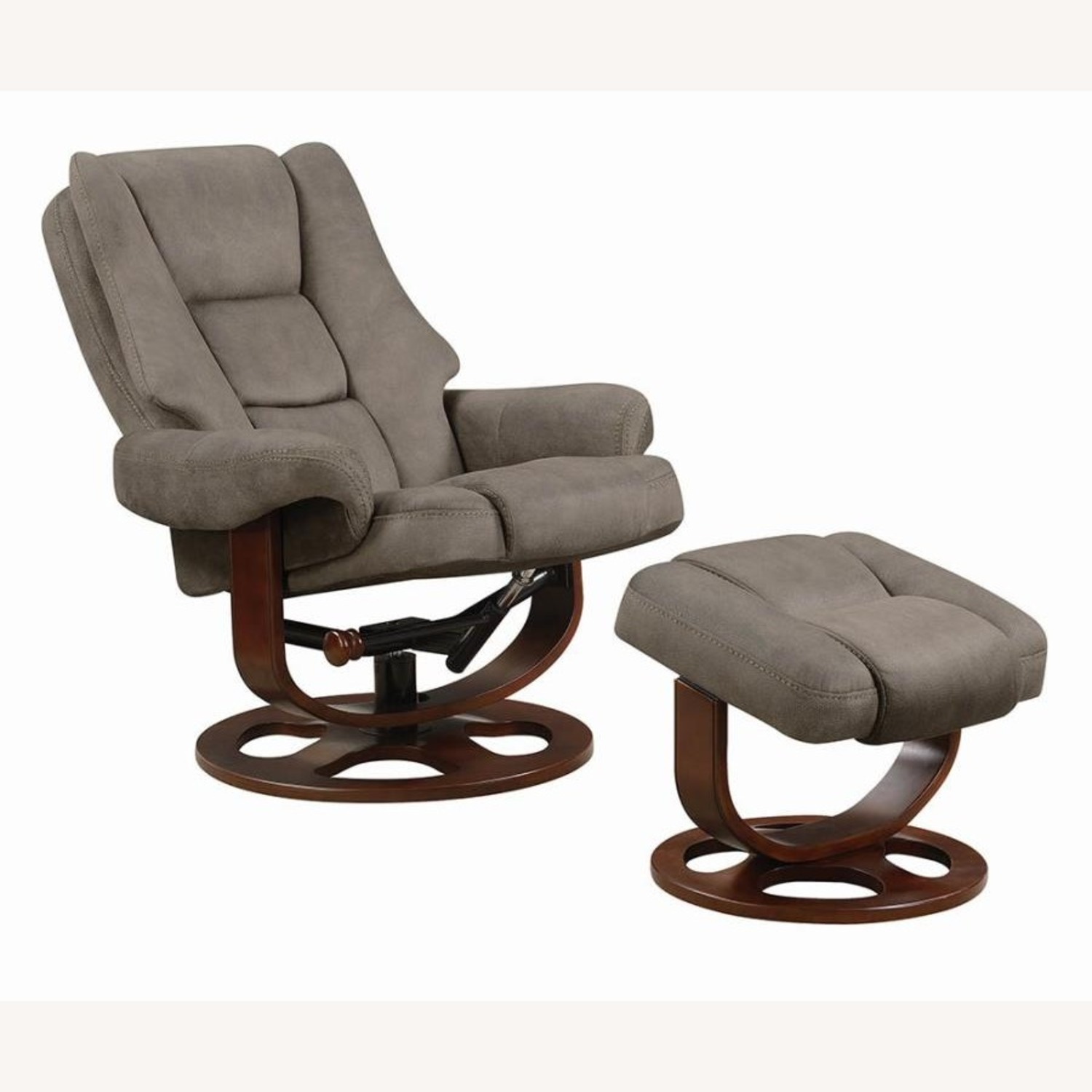 Recliner W/ Ottoman In 2-Tone Grey Faux Suede - image-3
