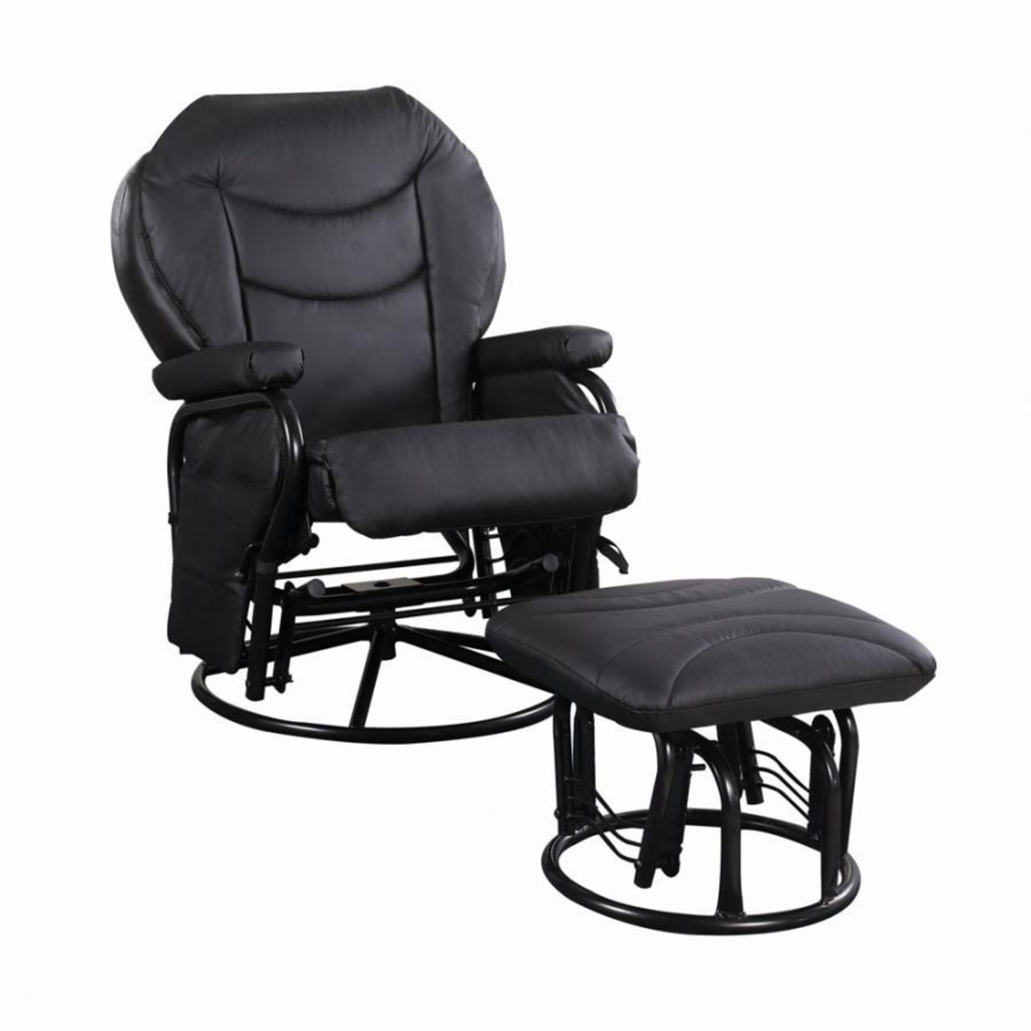 Glider W/ Ottoman In Black Leatherette Upholstery - image-0