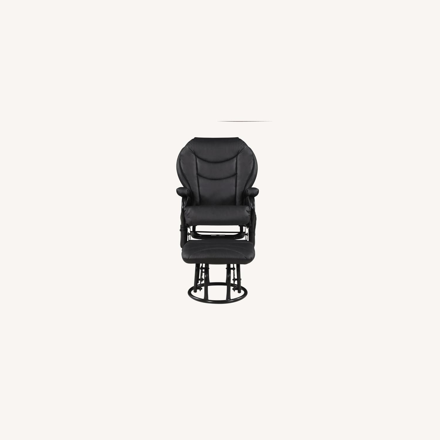 Glider W/ Ottoman In Black Leatherette Upholstery - image-6