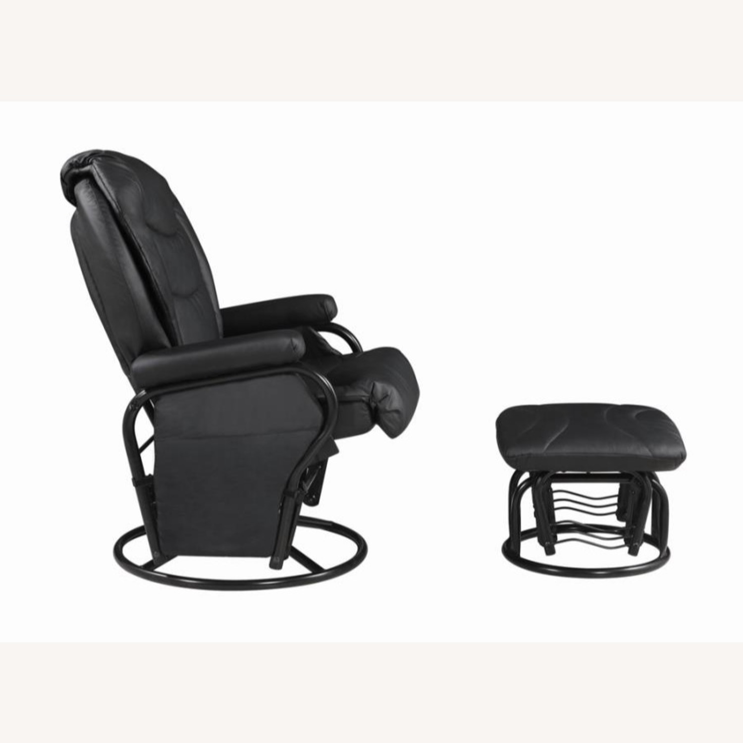 Glider W/ Ottoman In Black Leatherette Upholstery - image-3